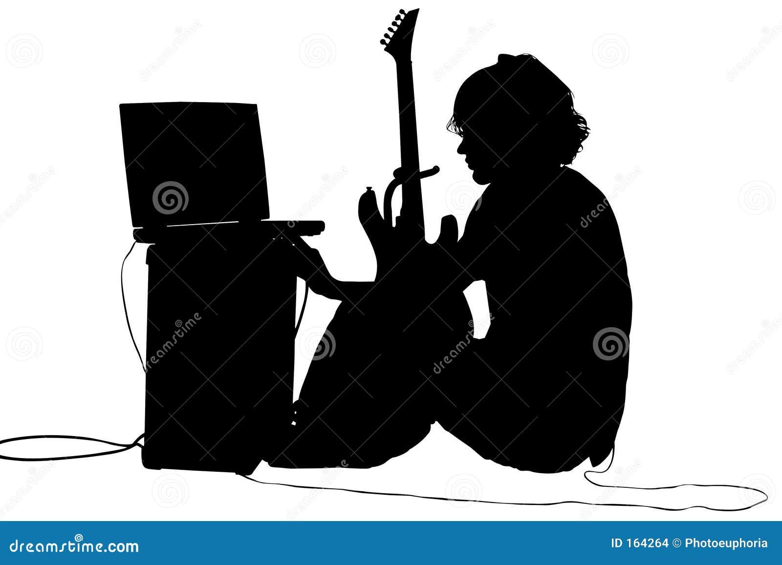 男孩剪报吉他青少年路径的剪影