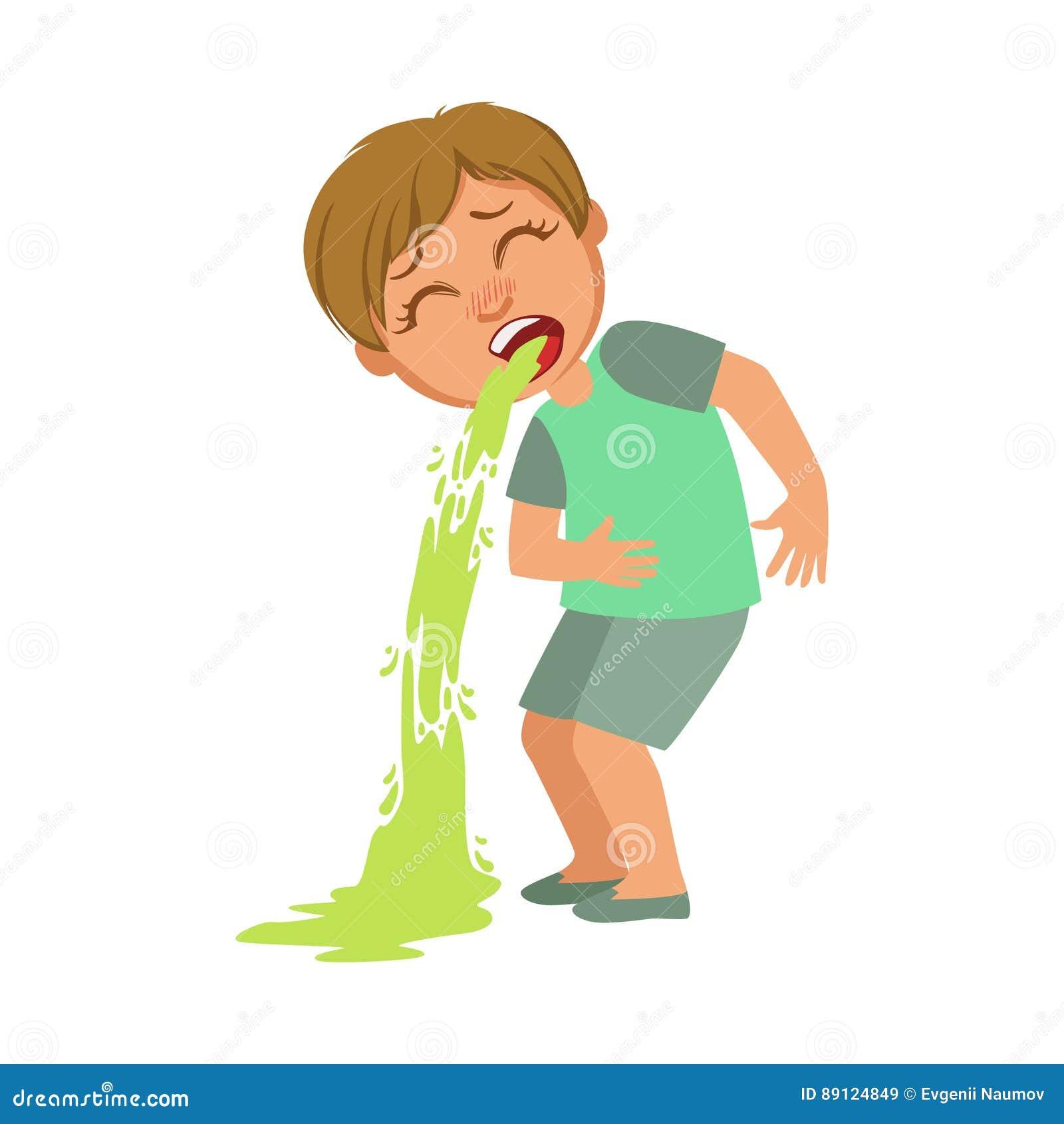 男孩呕吐,感到病的孩子不适由于憔悴,一部分的孩子和健康问题系列