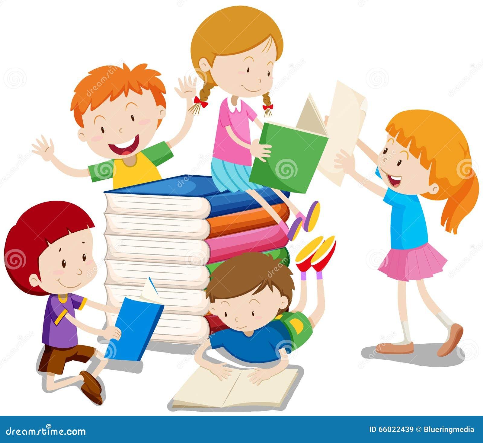 男孩和女孩阅读书例证.