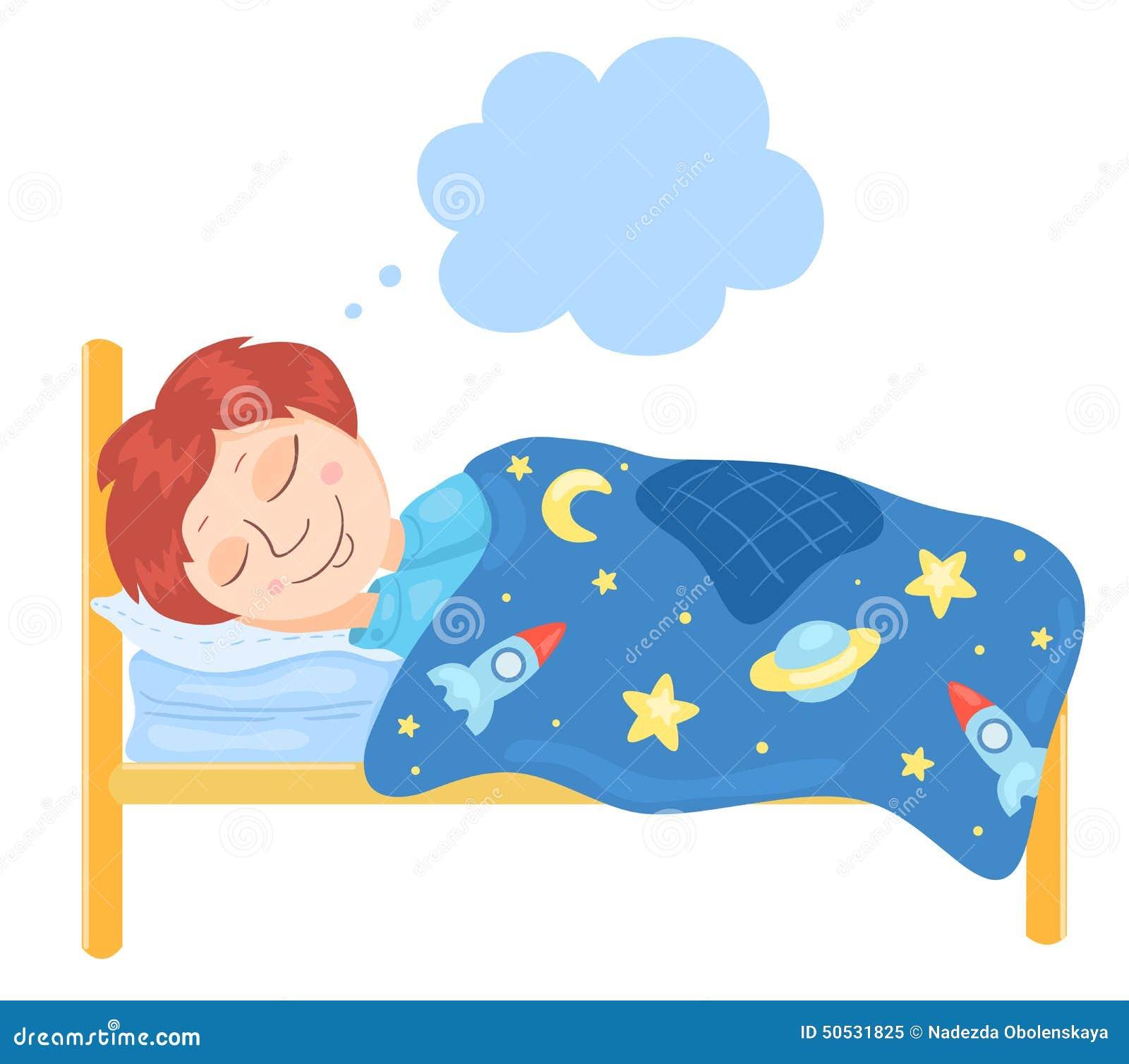 男孩在床上睡觉 儿童传染媒介例证.图片