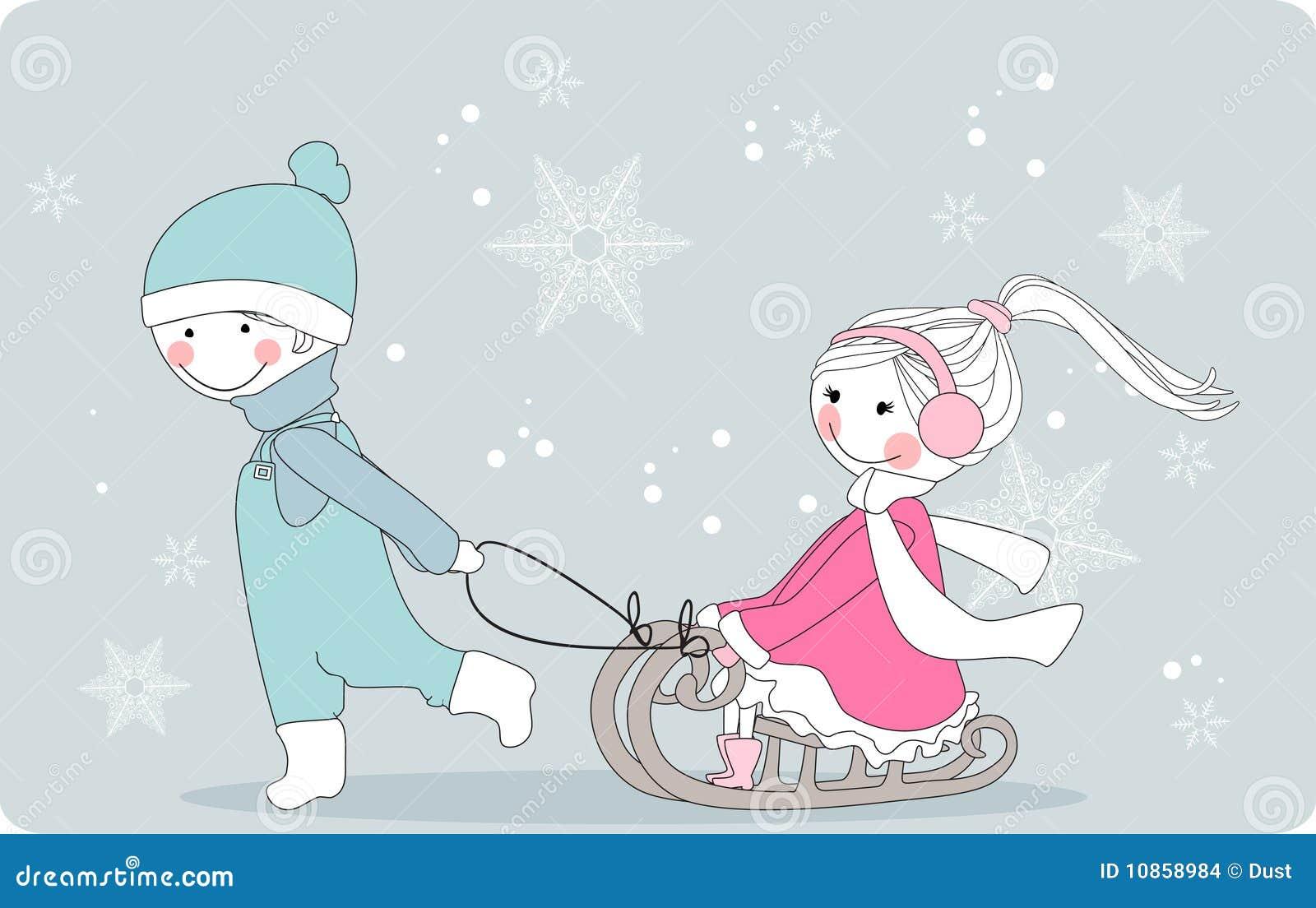 男孩女孩拉雪橇
