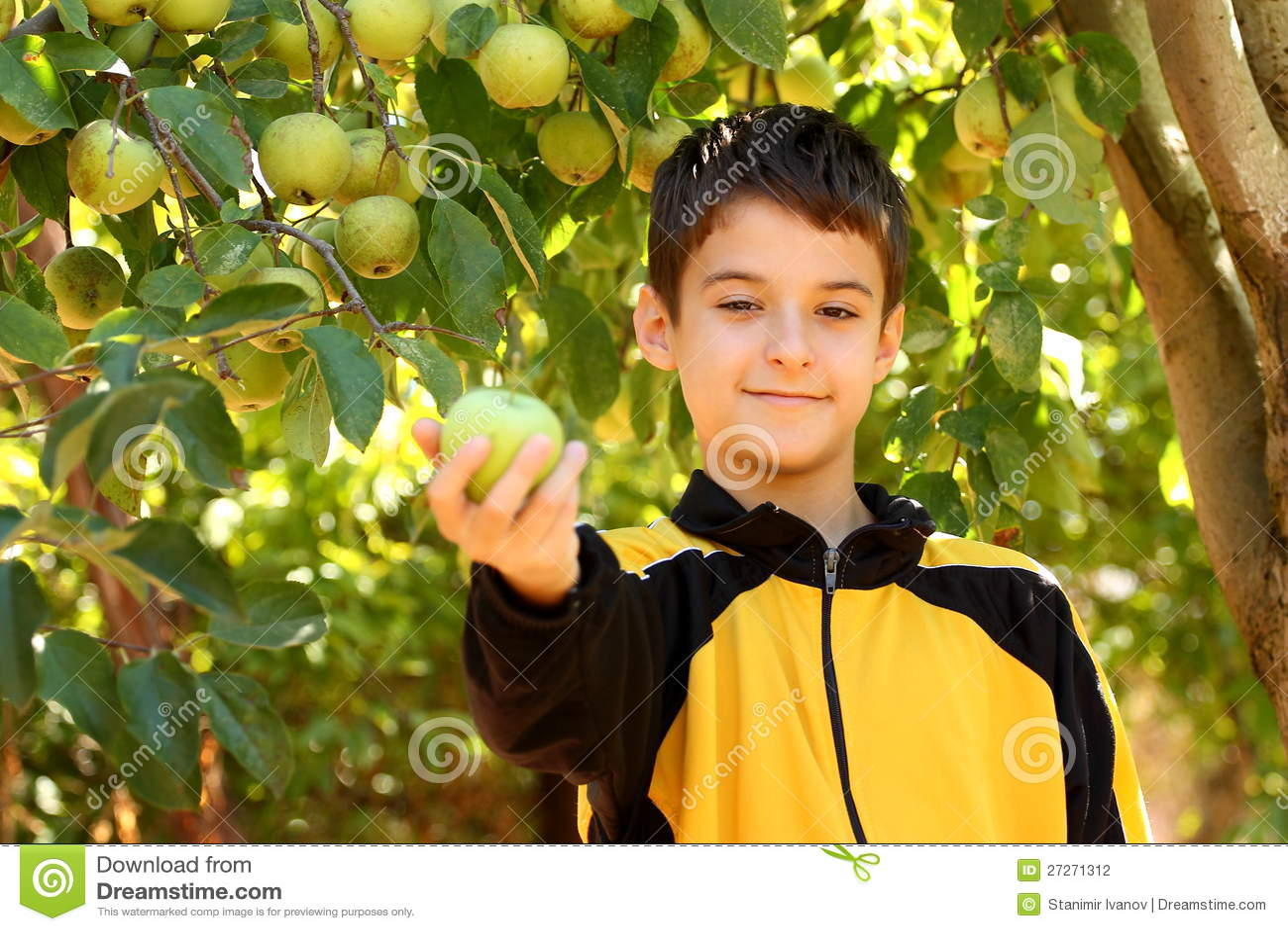 男孩用苹果