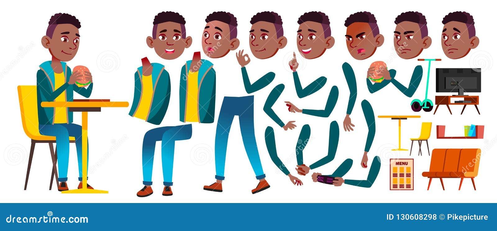 男孩男小学生孩子传染媒介 投反对票 美国黑人 高中孩子 动画创作集合 面孔情感,姿态