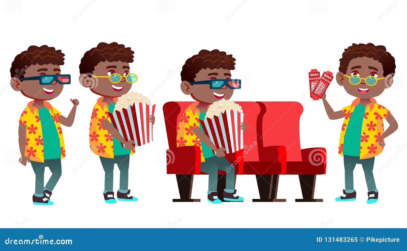 男孩男小学生孩子姿势被设置的传染媒介 投反对票 美国黑人 小学孩子 学习 休闲 教训,9月