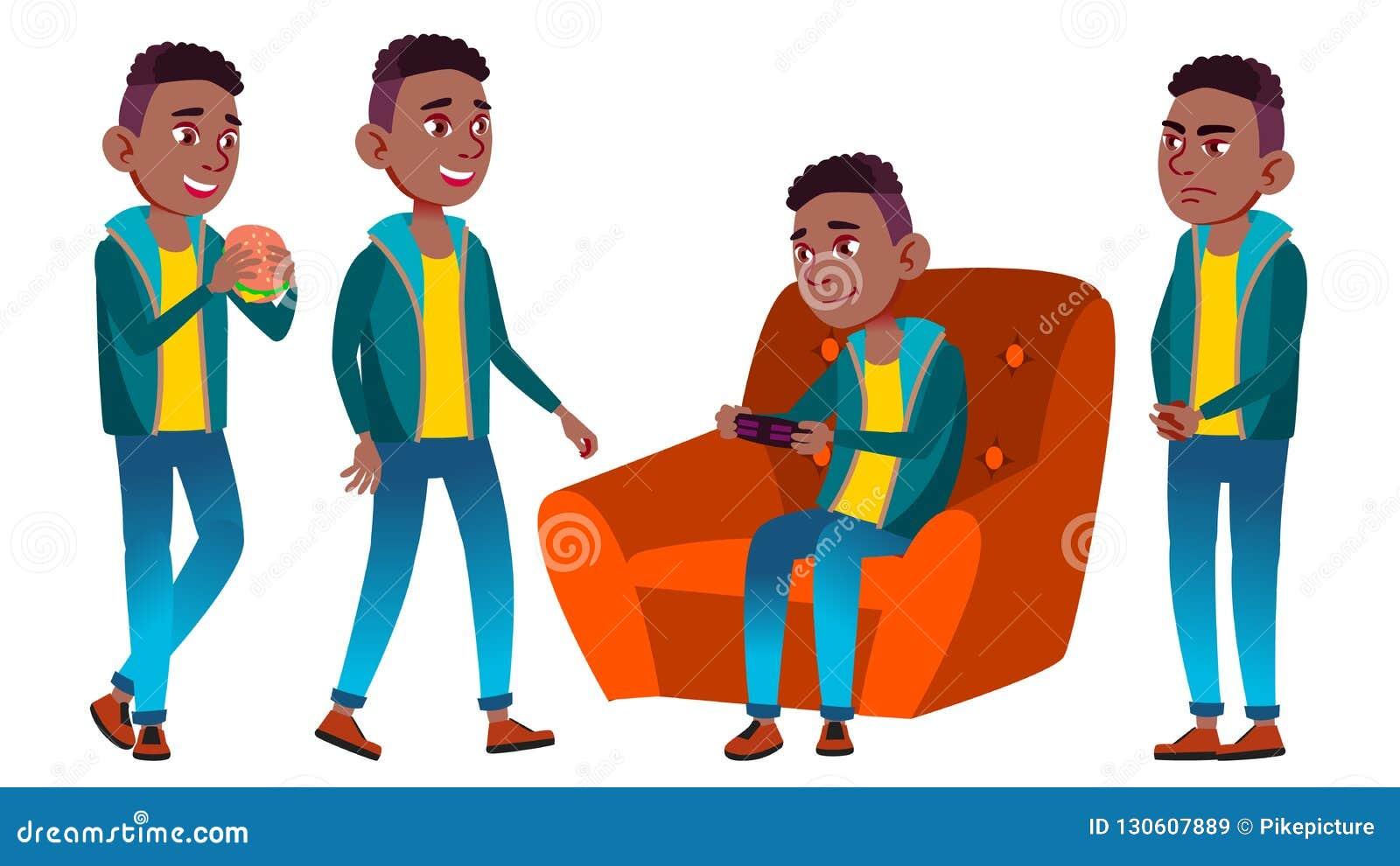 男孩男小学生孩子姿势被设置的传染媒介 投反对票 美国黑人 高中孩子 中等教育 教育,演讲
