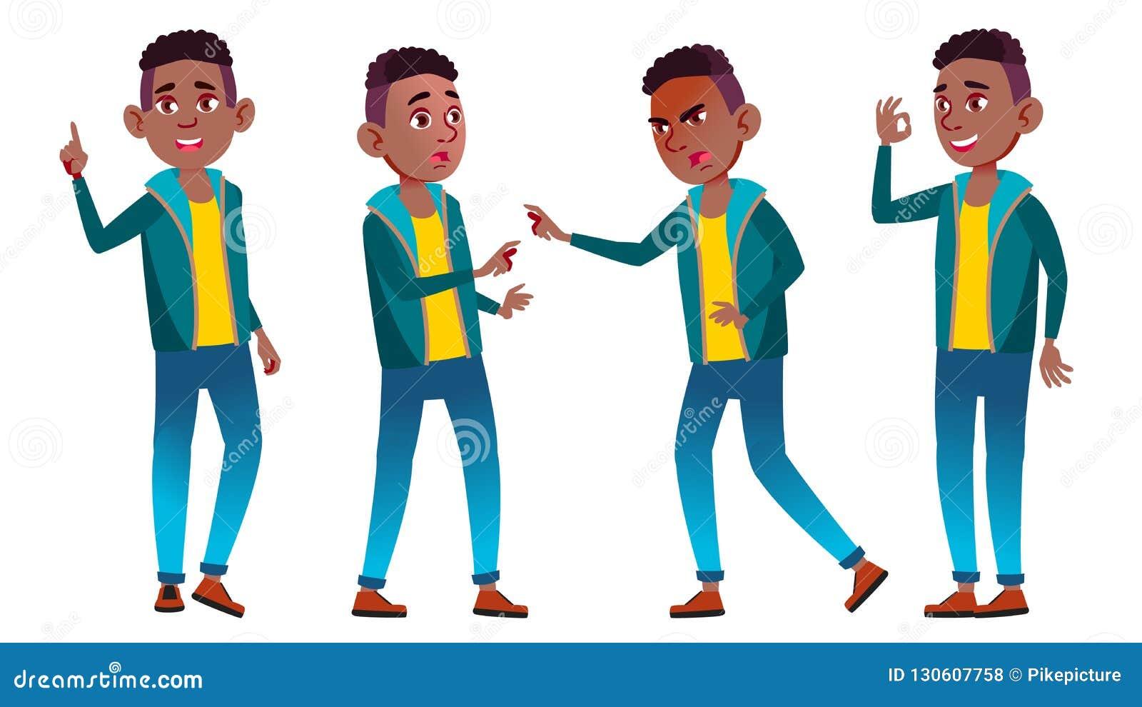 男孩男小学生孩子姿势被设置的传染媒介 投反对票 美国黑人 高中孩子 教,教育, Schoolkid 为