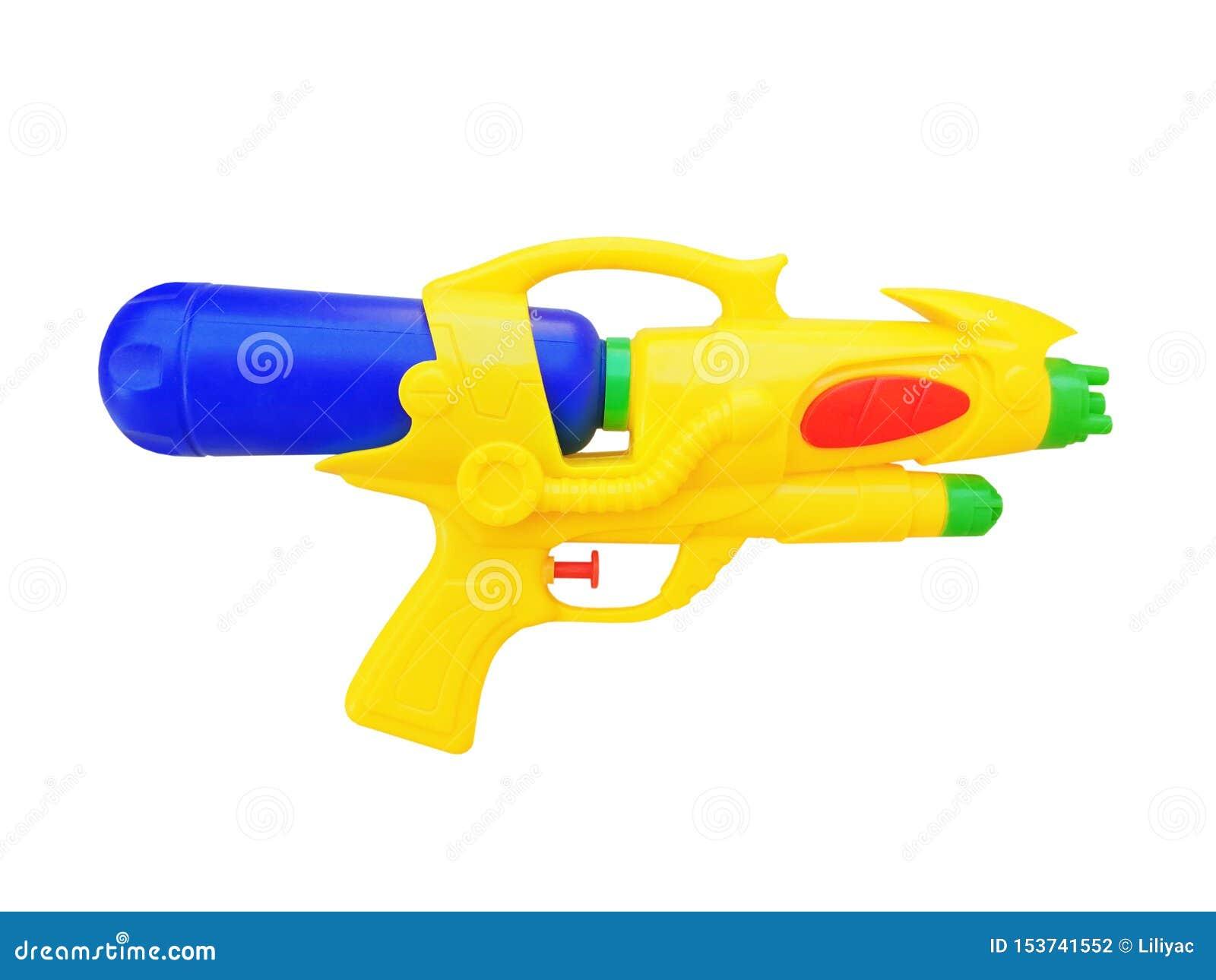 男孩的玩具枪白色背景的