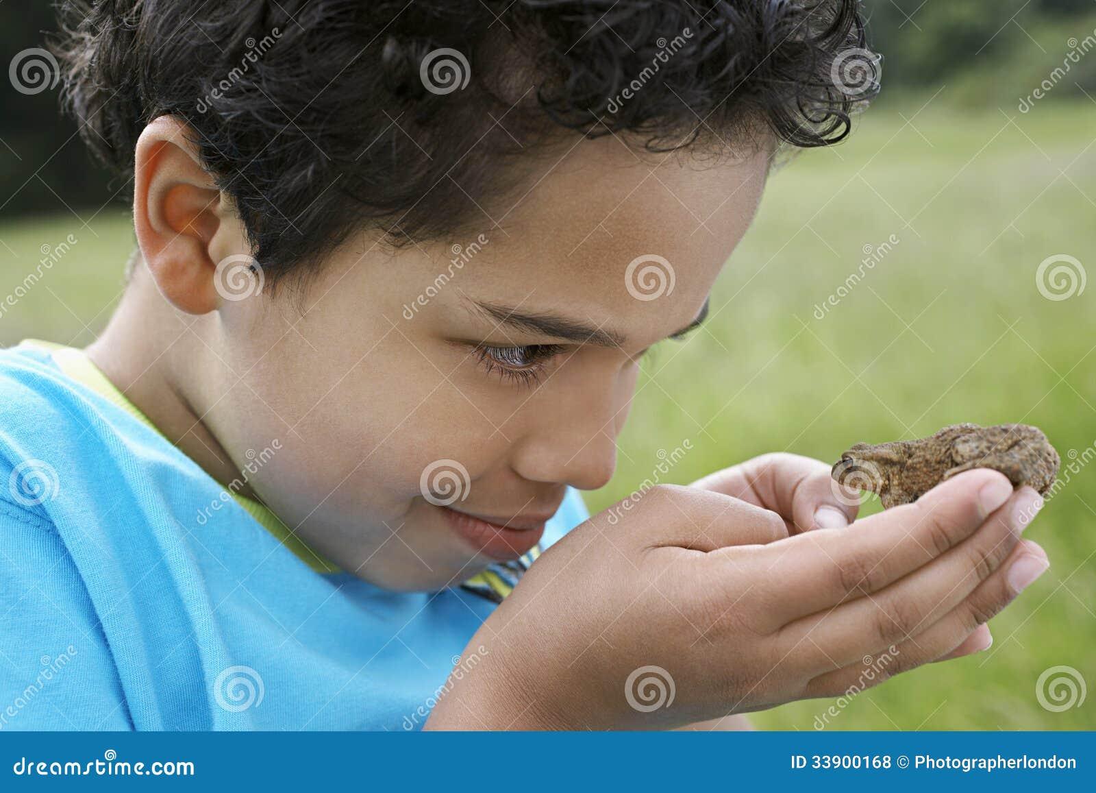 男孩观察蟾蜍户外