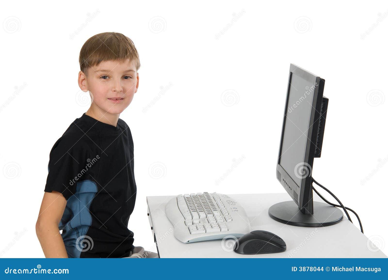 男孩计算机他的