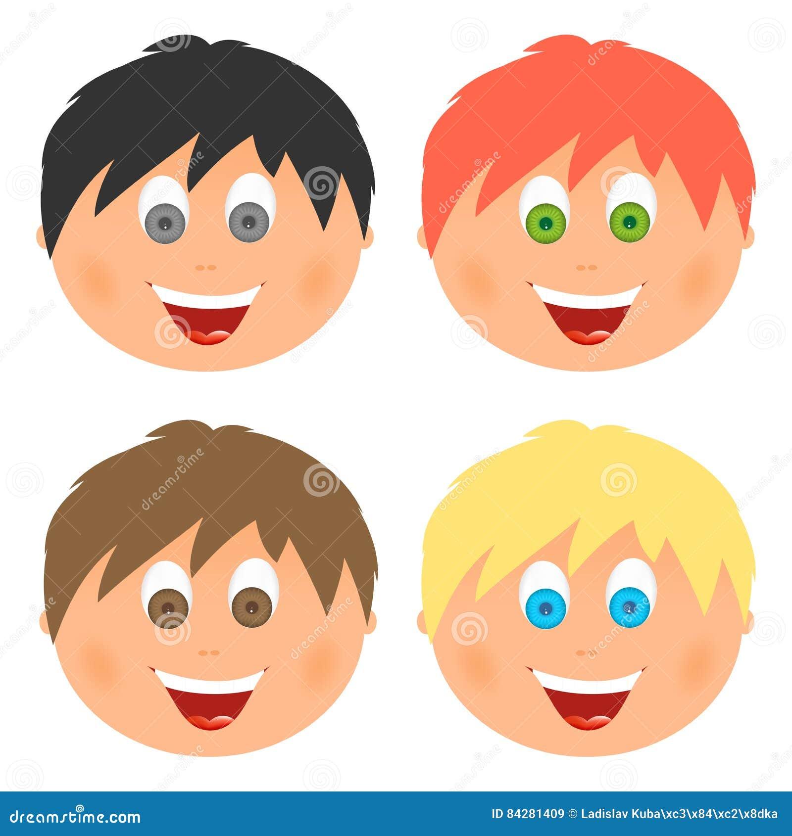 男孩设置了儿童与另外头发颜色和眼睛的` s面孔与与一张开放嘴的大微笑与舌头和白色牙 梳子