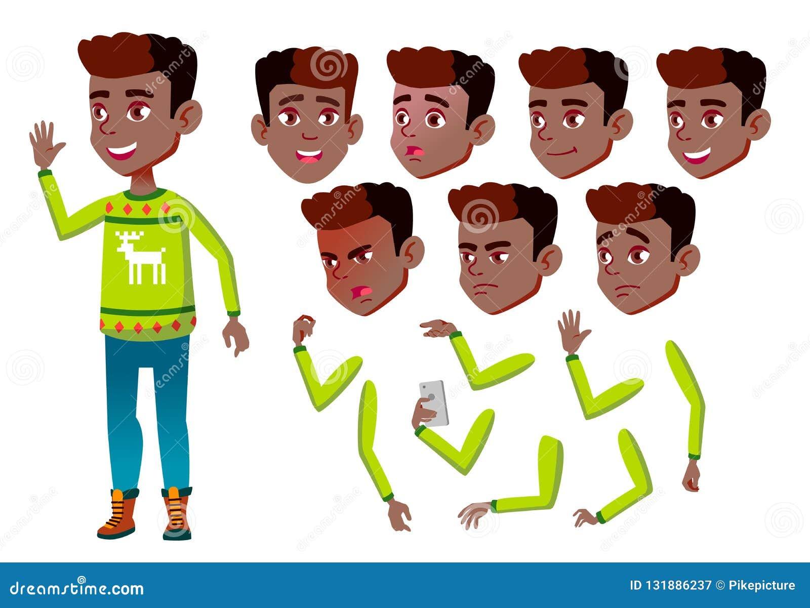 男孩,孩子,孩子,青少年的传染媒介 快乐的学生 投反对票 美国黑人 面孔情感,各种各样的姿态 动画创作