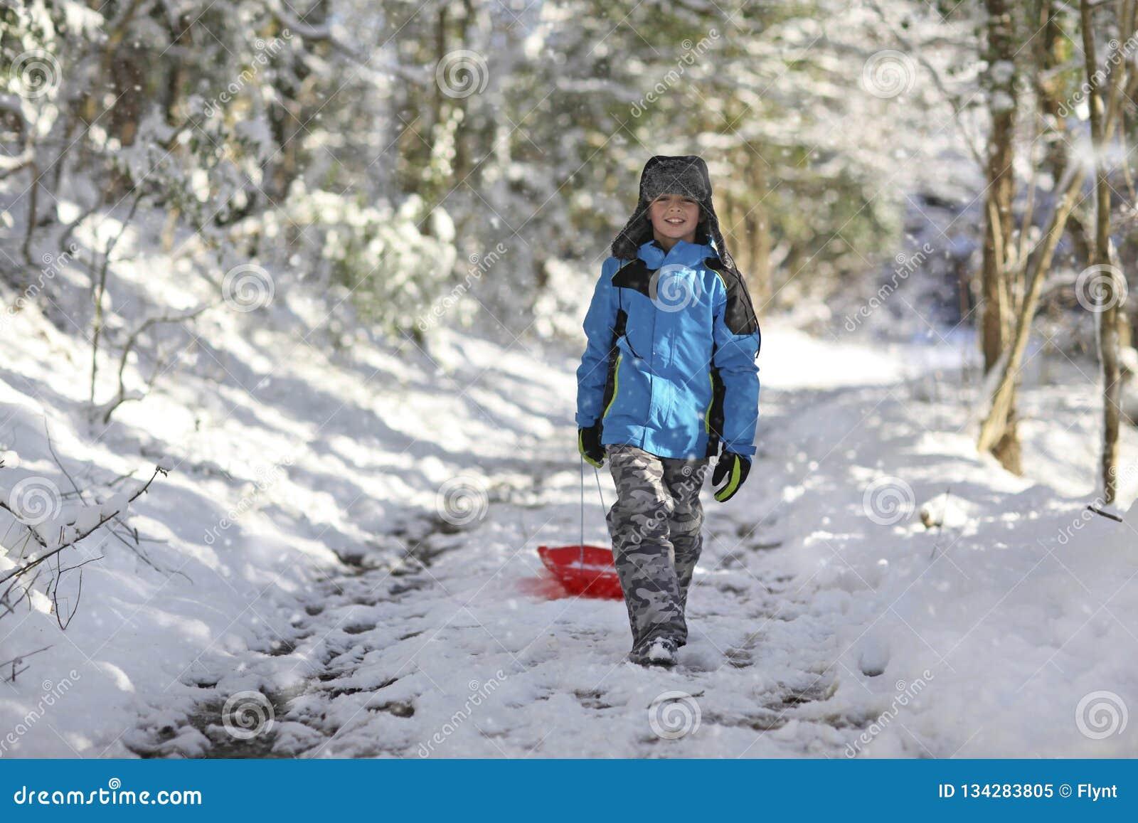 男孩sledding在雪