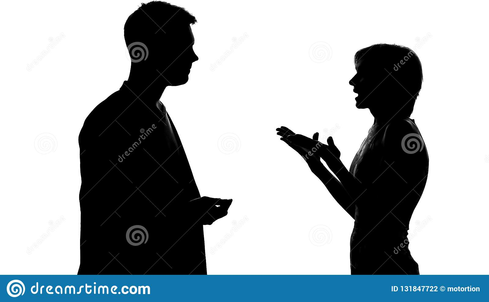 男性和女性争论和争吵,联系和冲突剪影