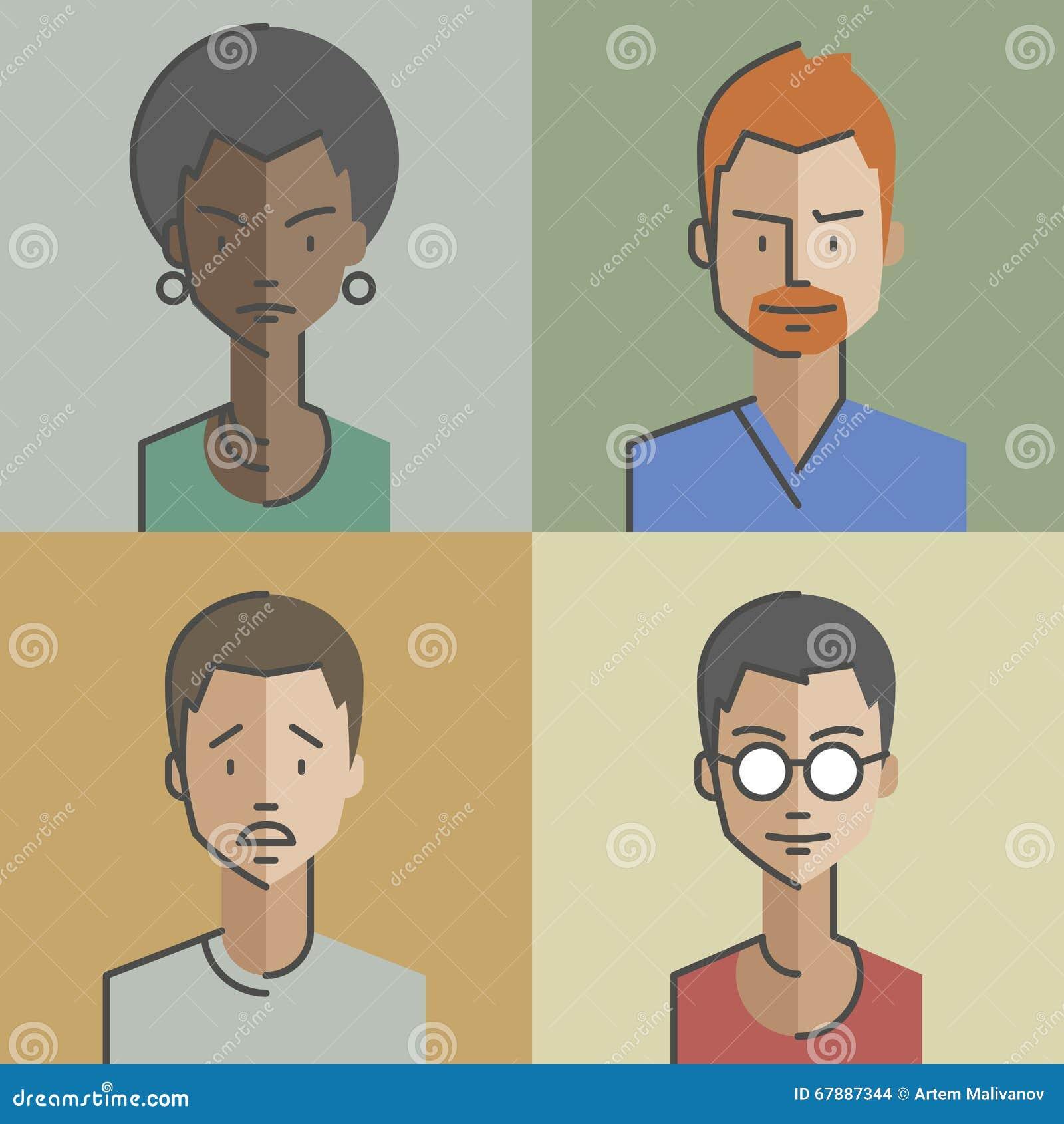 男性和女性面孔具体化设置了01