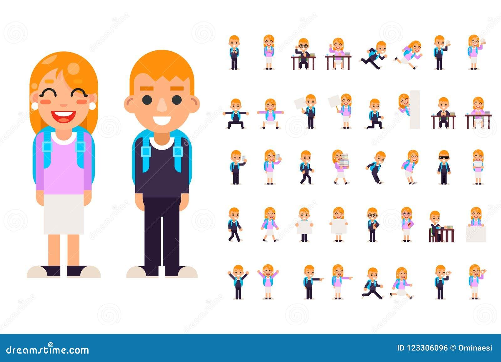 男生女学生学生不同的姿势行动青少年的字符哄骗集合被隔绝的教育平的设计传染媒介