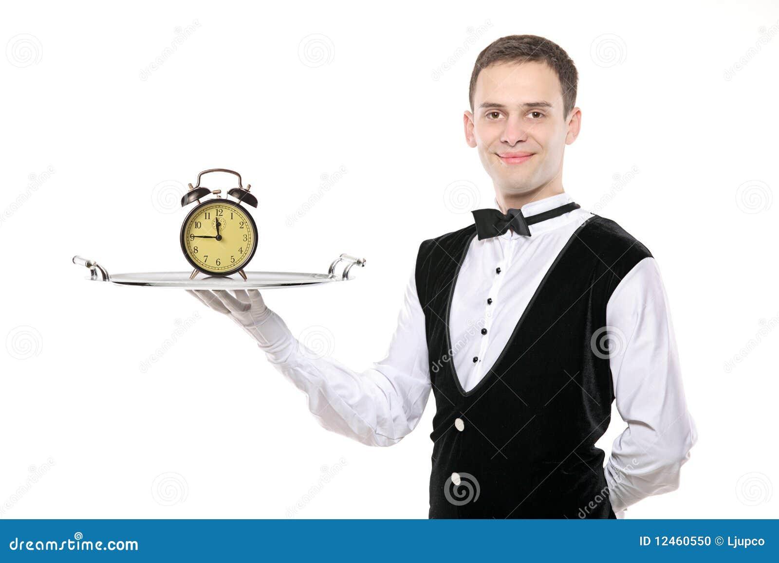 男管家时钟藏品银盘