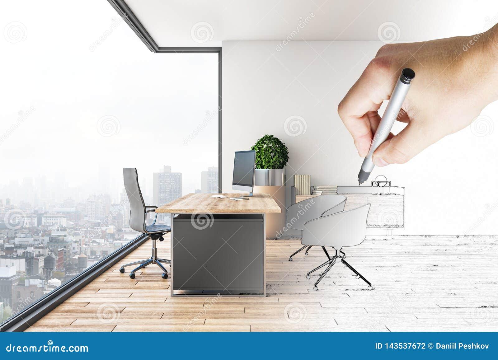 画现代办公室内部的手