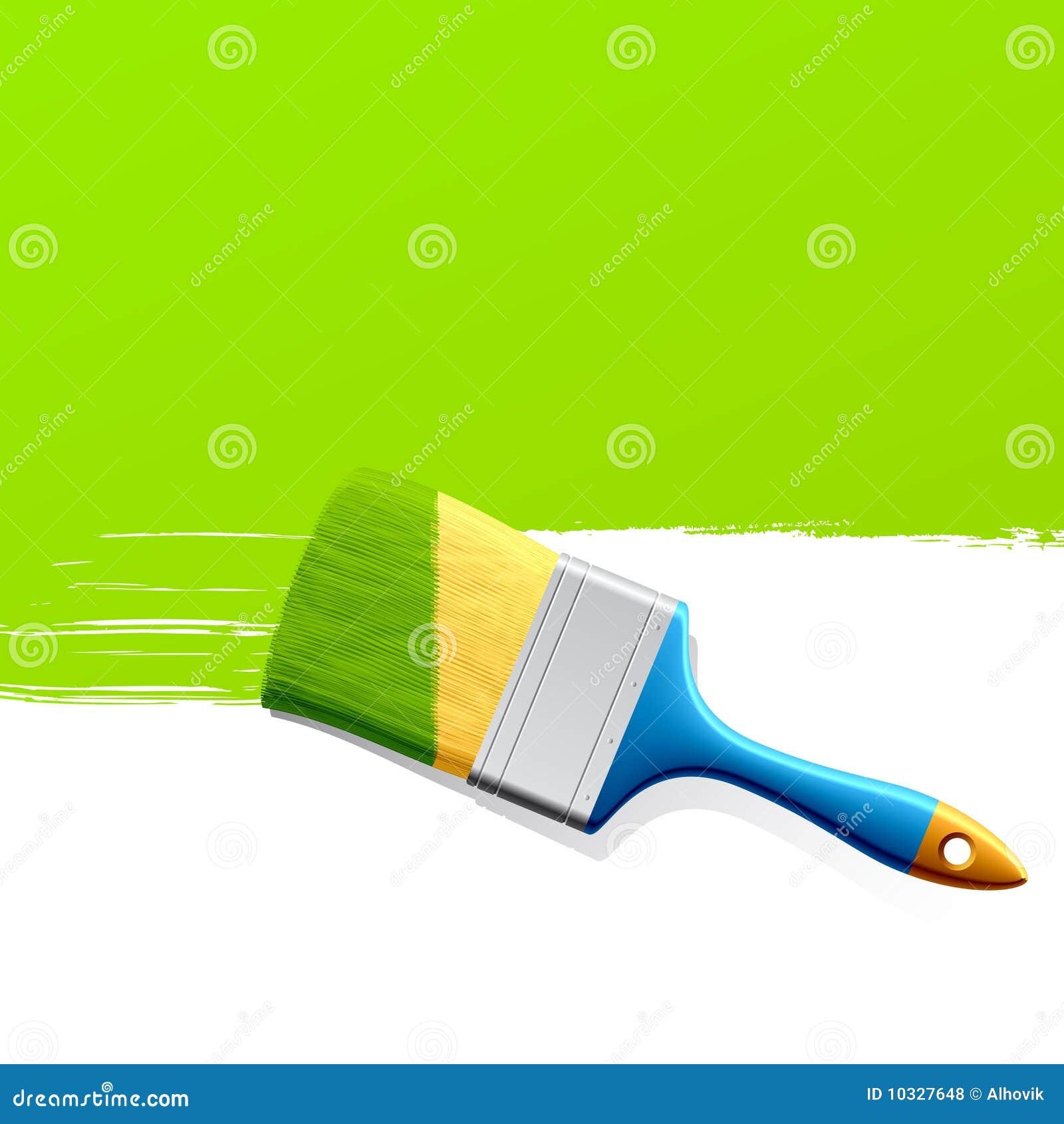 绿色例证油漆油漆刷向量.图片