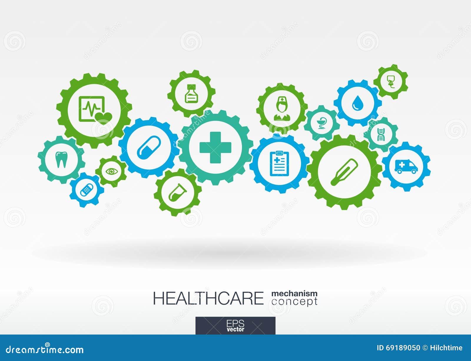 医疗保健机制概念 与被连接的齿轮和象医疗的,健康,关心,医学的抽象背景