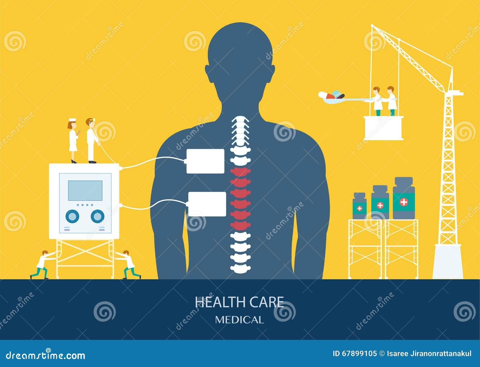 医疗保健概念,脊椎,腰疼设计