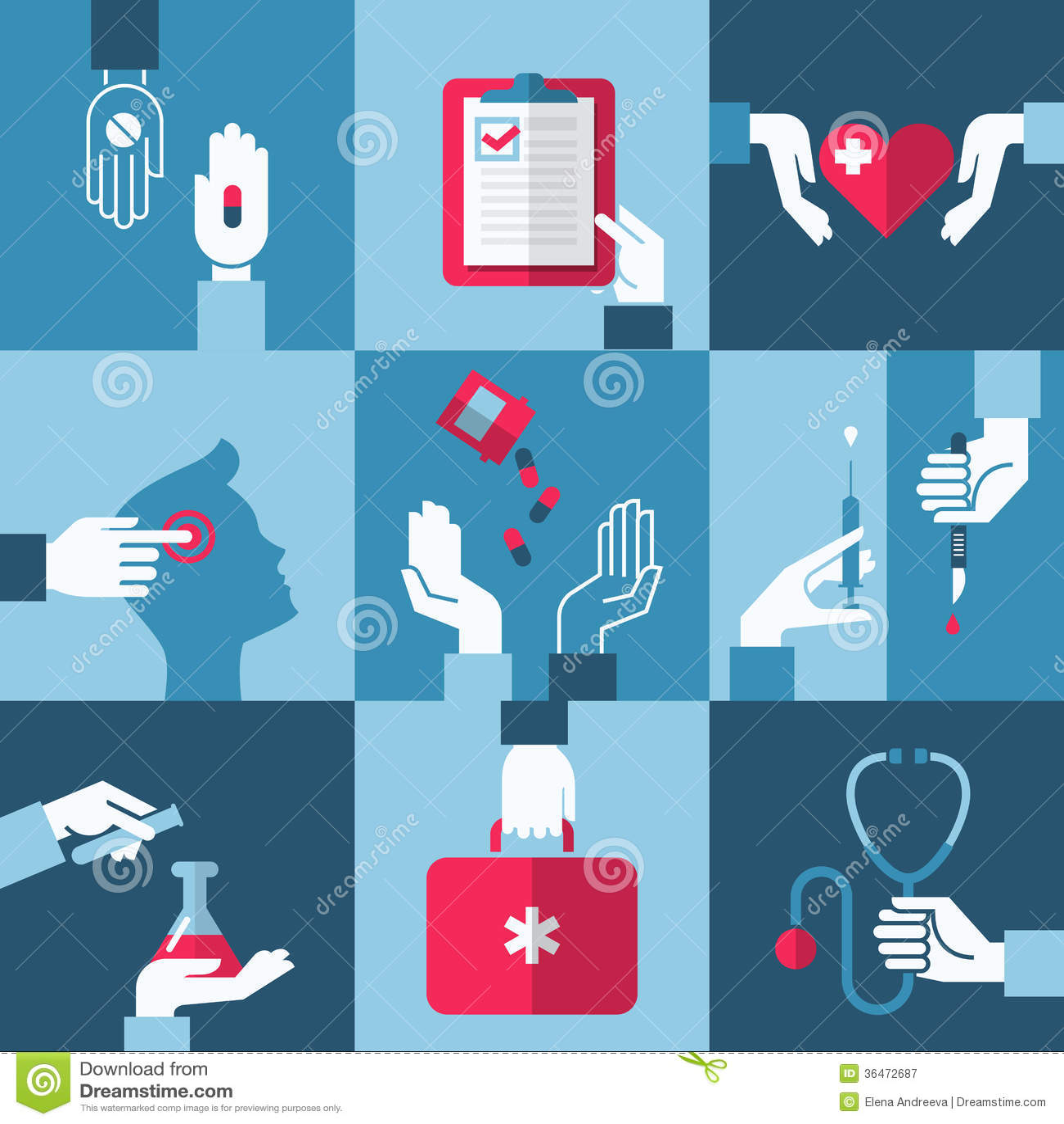 医疗和医疗保健设计元素。传染媒介例证
