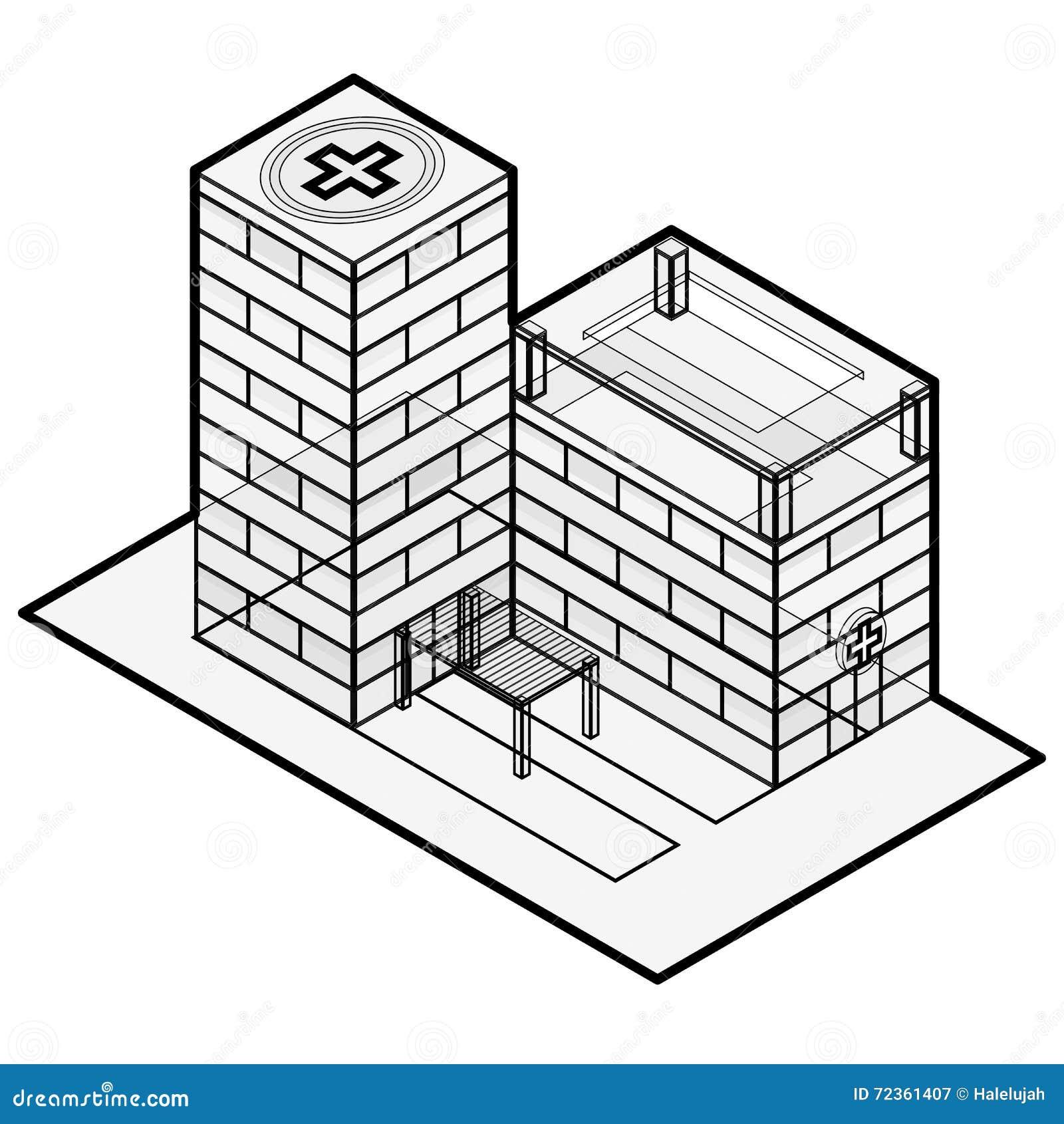 医疗等量大厦 编译的被画的现有量医院例证向量白色 编译等量 概述等量医院