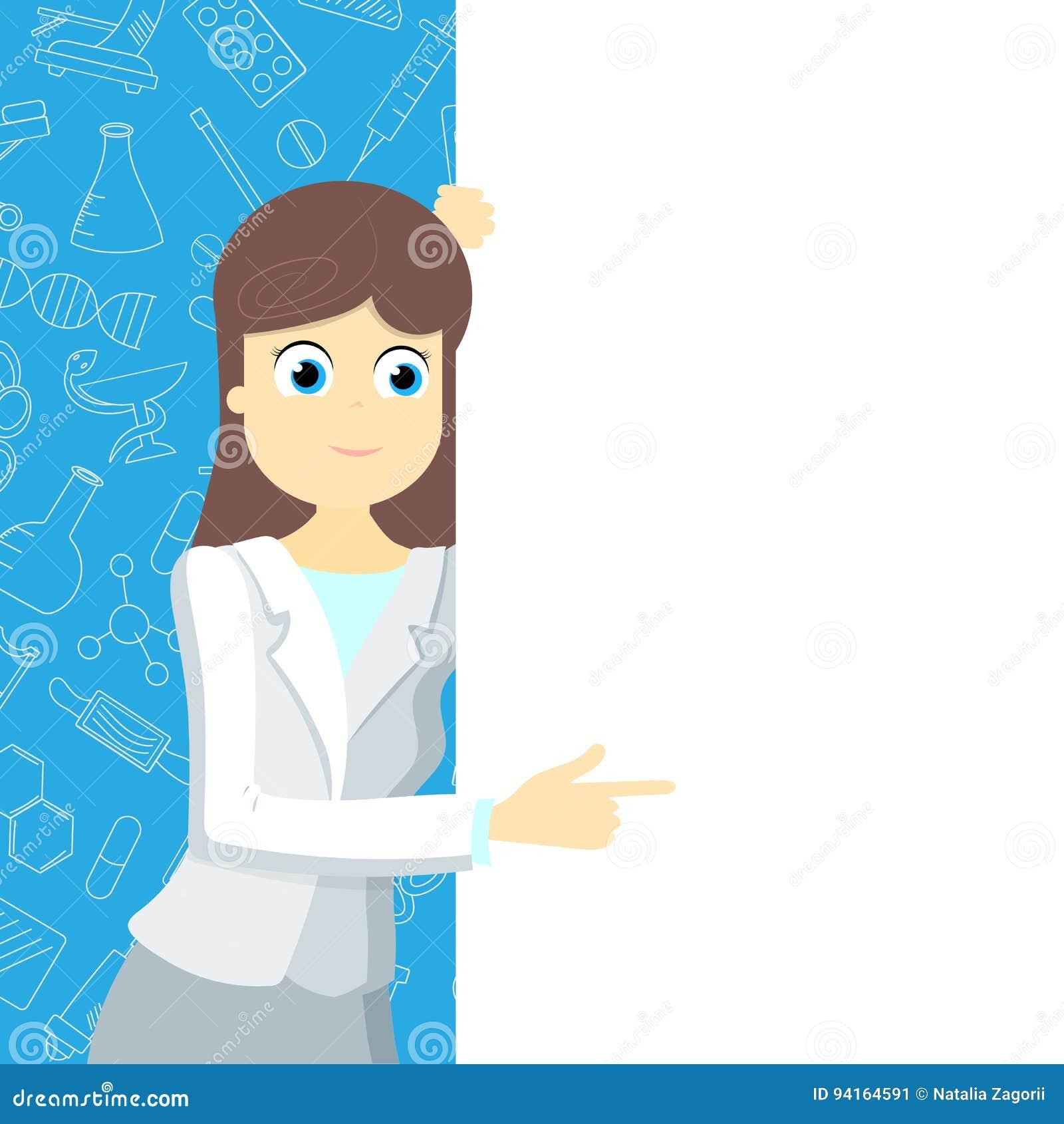 医疗衣物的女孩指向在蓝色背景的一副空白的横幅与在题材医学的象