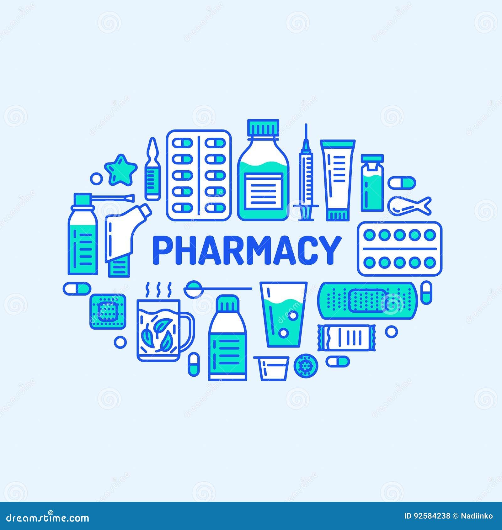医疗,药房横幅例证 药房传染媒介线象片剂,胶囊,药片,抗生素,维生素和