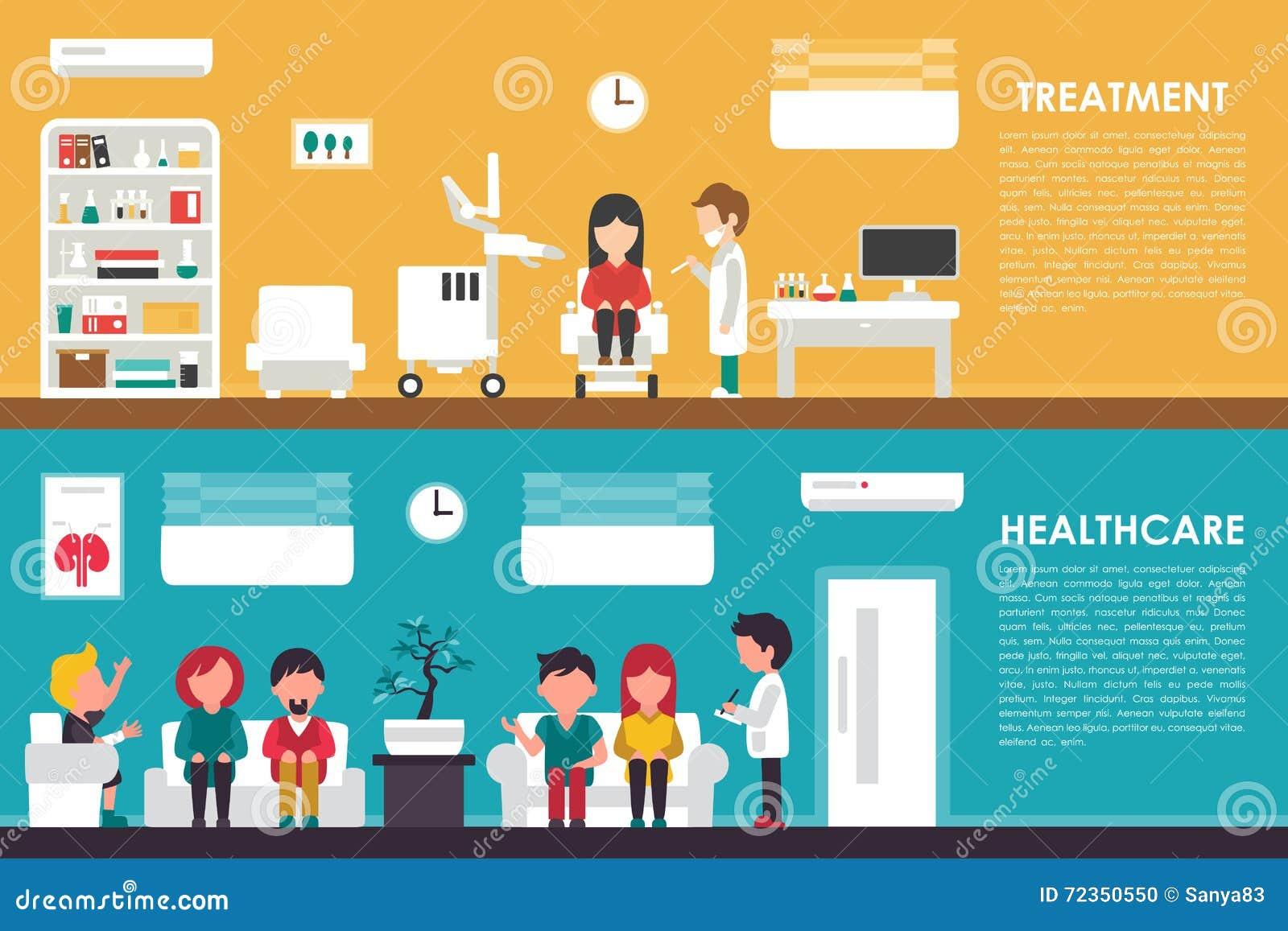 治疗医疗保健平的医院内部概念网传染媒介例证 护士,队列,诊所医生, 医学