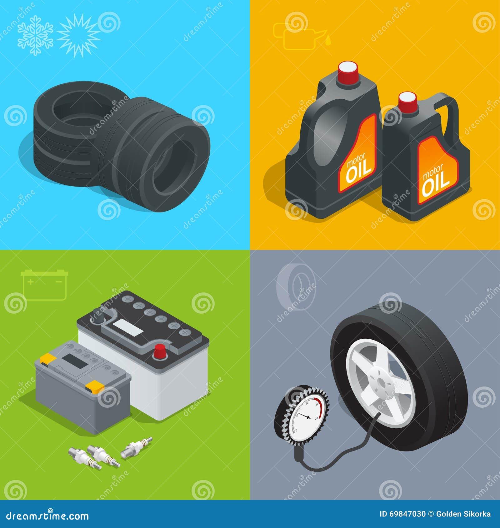 疲倦服务汽车汽车,修理象舱内甲板集合传染媒介等量例证 汽车的消费品