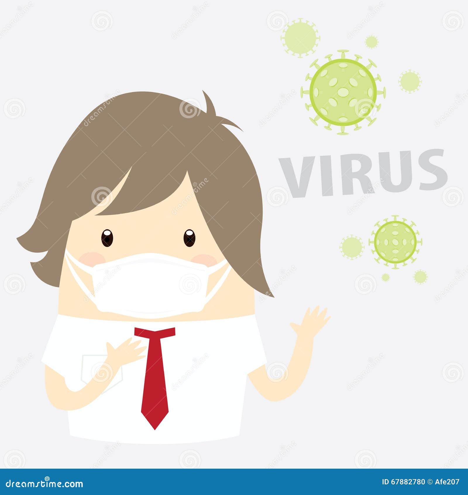 病毒,与卫生学面具的商人