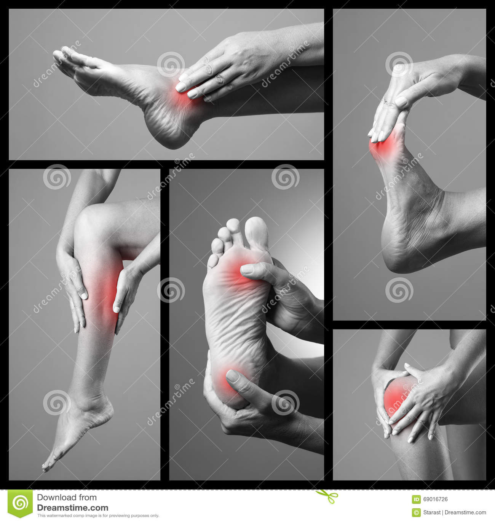 痛苦在脚 女性脚按摩 在妇女腿的痛处 痛苦在灰色背景的人体 身体局部o拼贴画