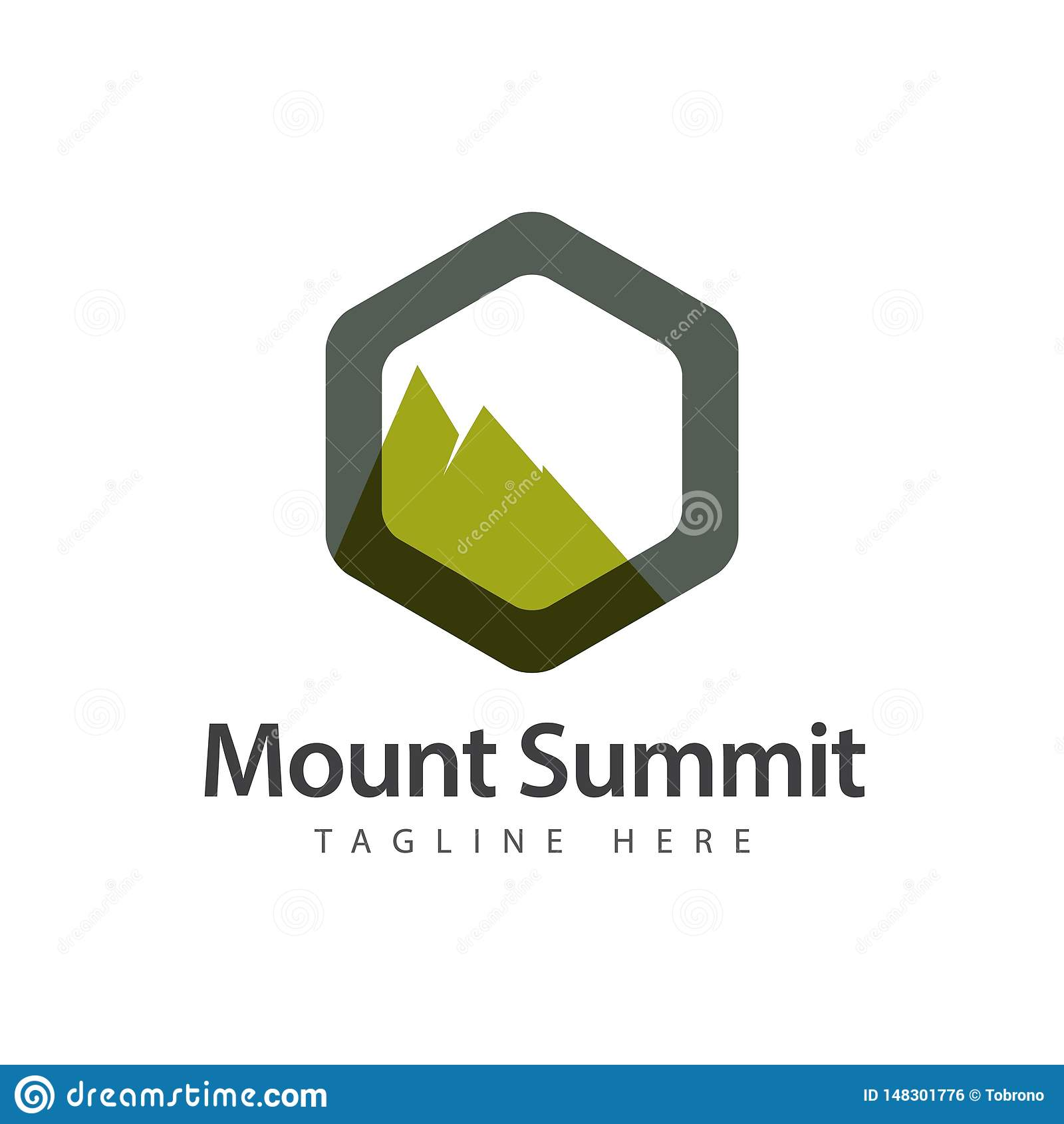 登上山顶商标传染媒介模板设计例证