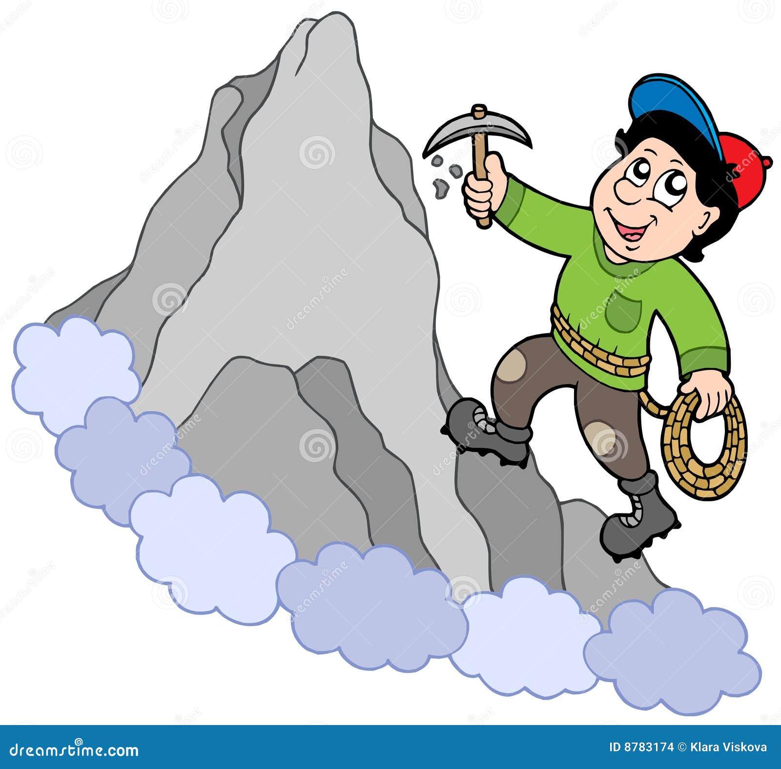 登山人山岩石