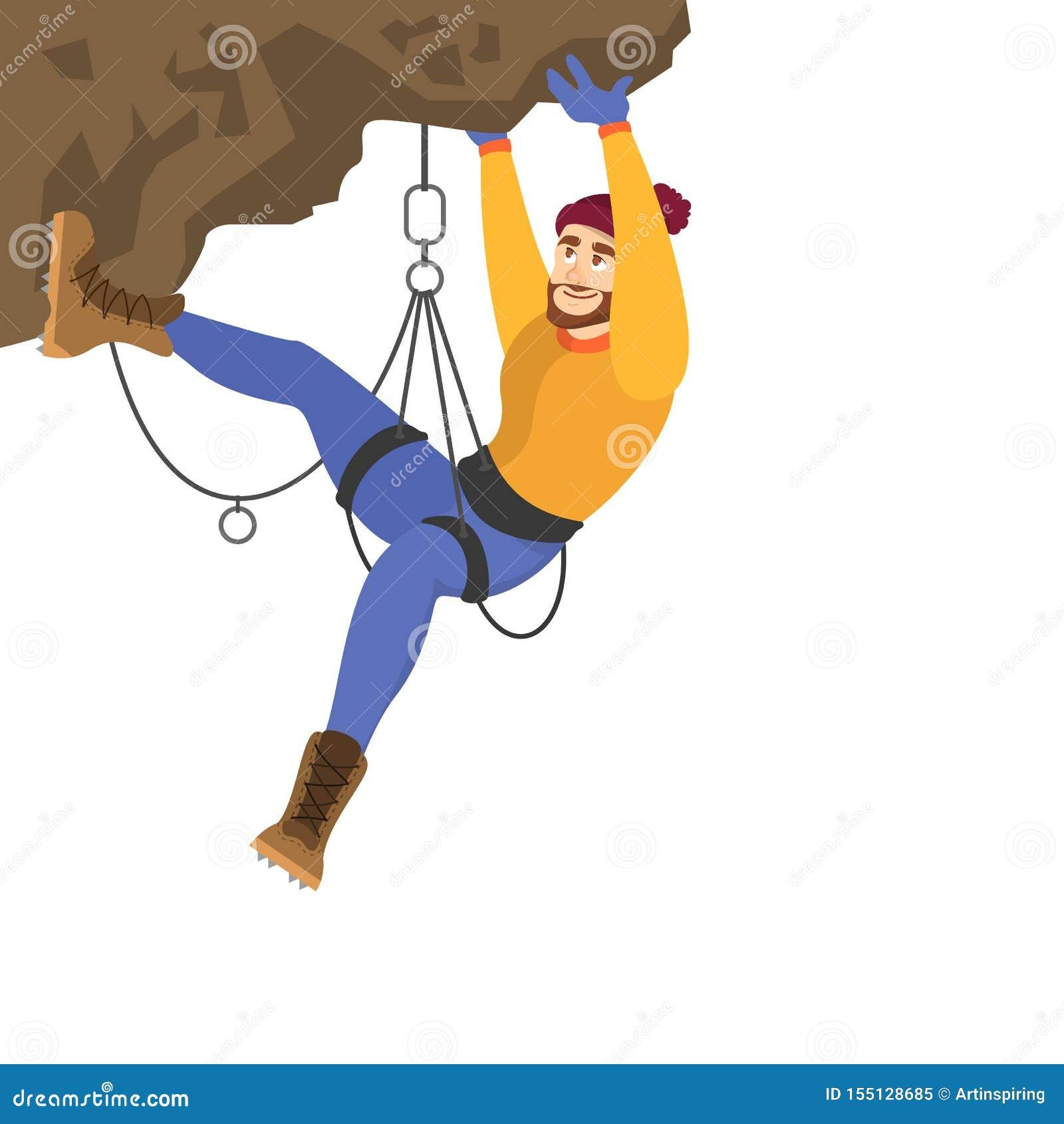 登山家攀登山 极限运动和高努力