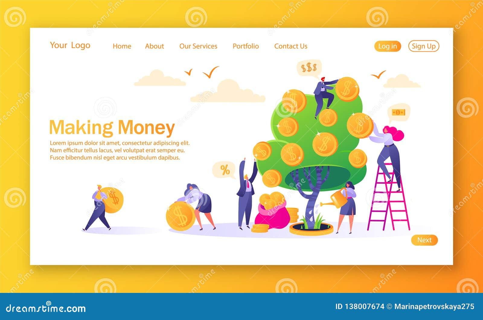 登陆的页的概念在财务题材的 赚钱商业投资有平的人字符 妇女浇灌的金钱树
