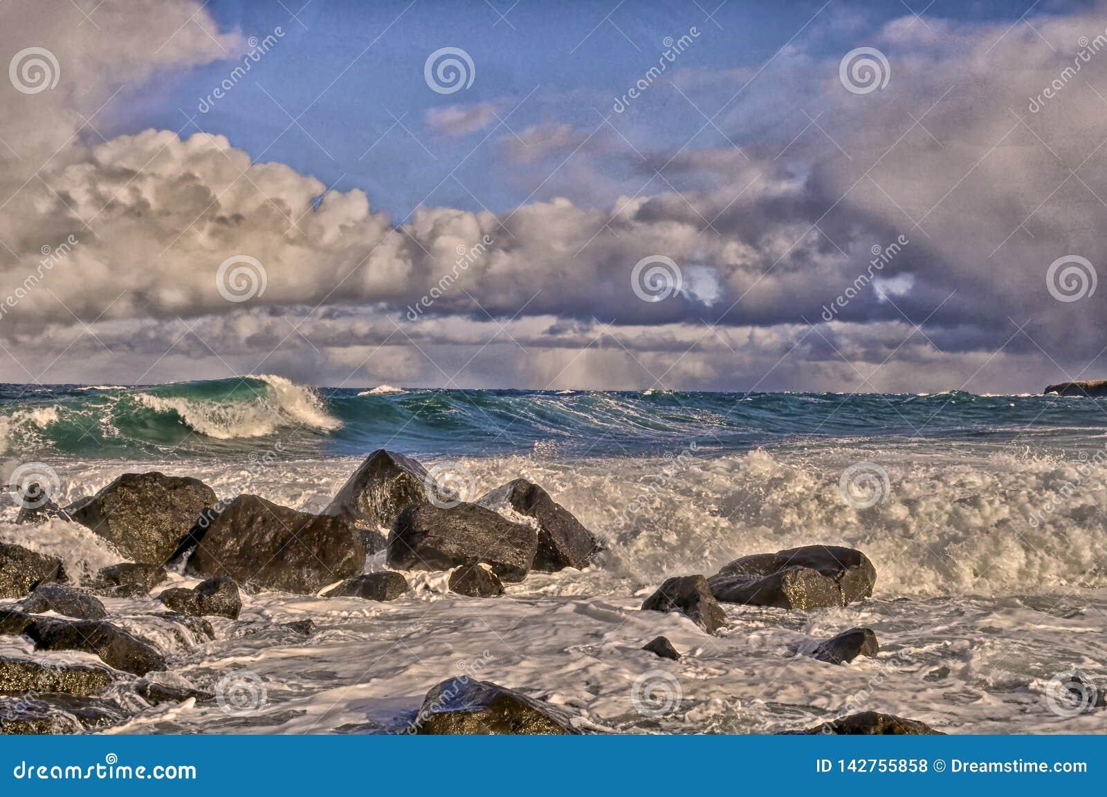 白令海海浪,圣乔治海岛,阿拉斯加
