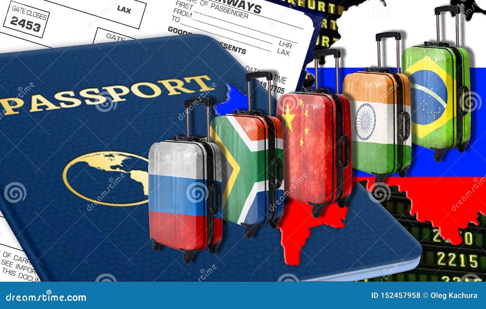白利国家:中国,俄罗斯,川斯瓦共和国,巴西,以旗子的形式印度在手提箱,飞机票,俄语