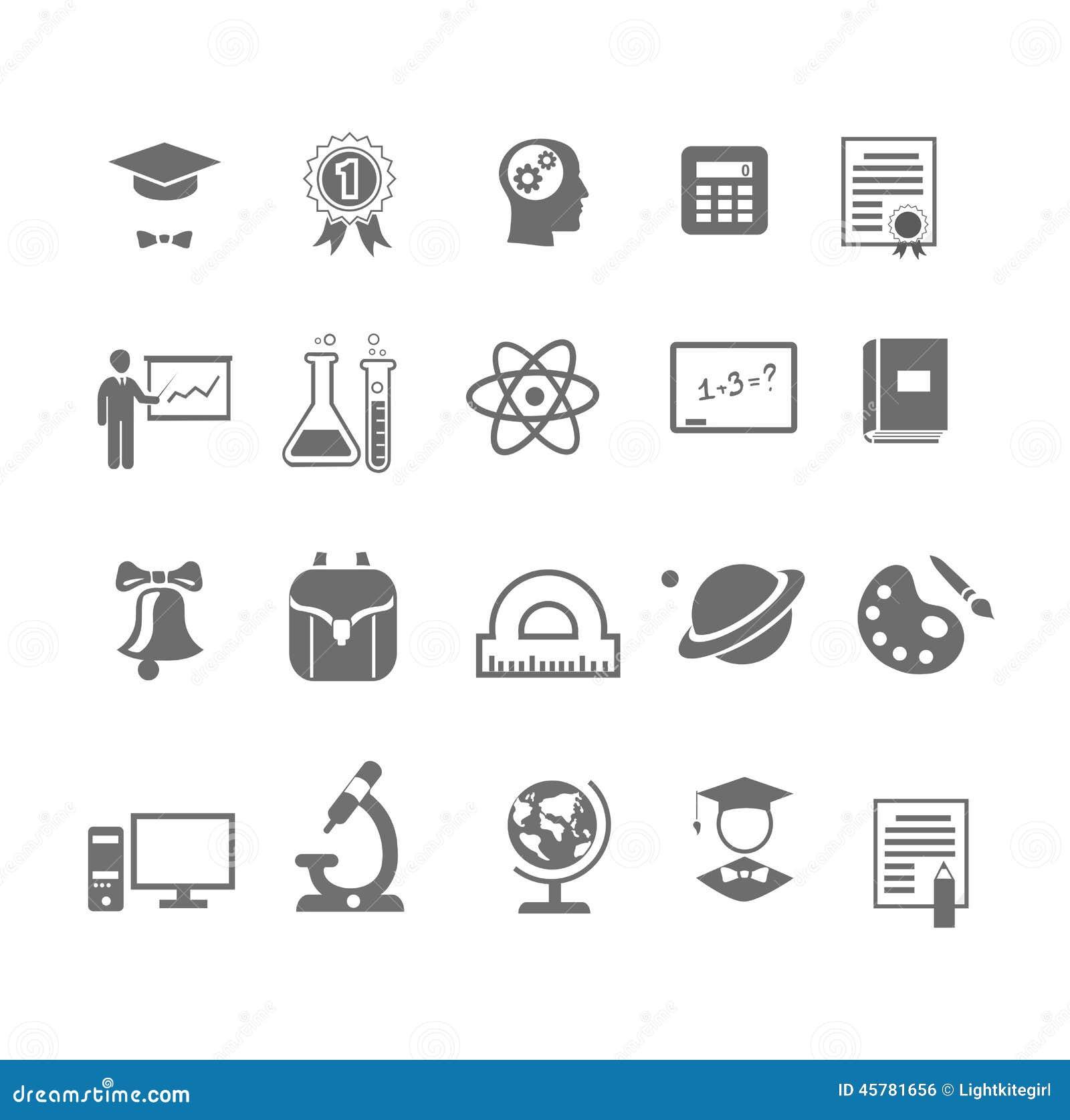 在传染媒介例证的不同的黑白剪影学校和教育象.