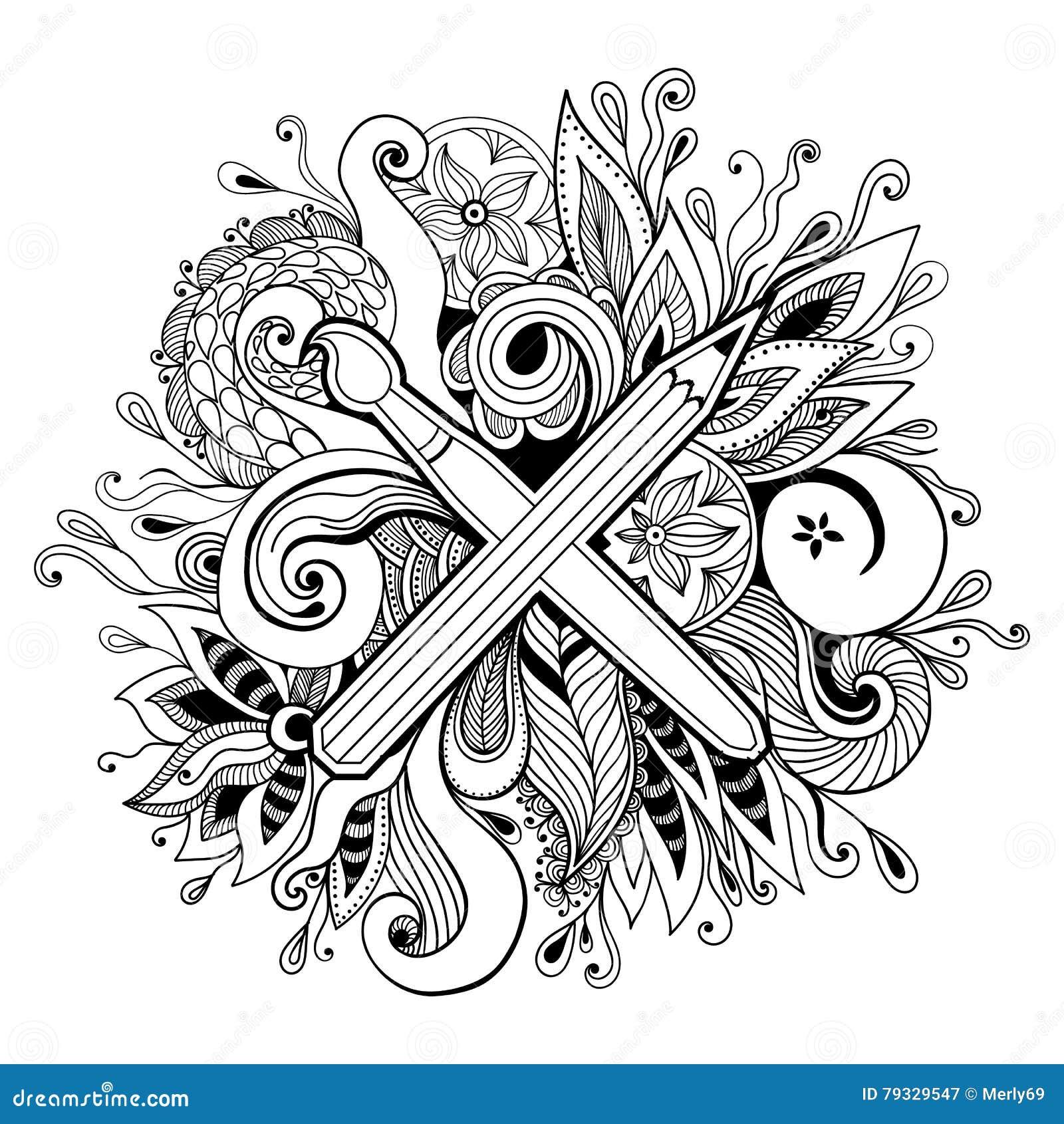 黑白手拉的抽象万花筒传染媒介例证 Zentangle或成人着色页