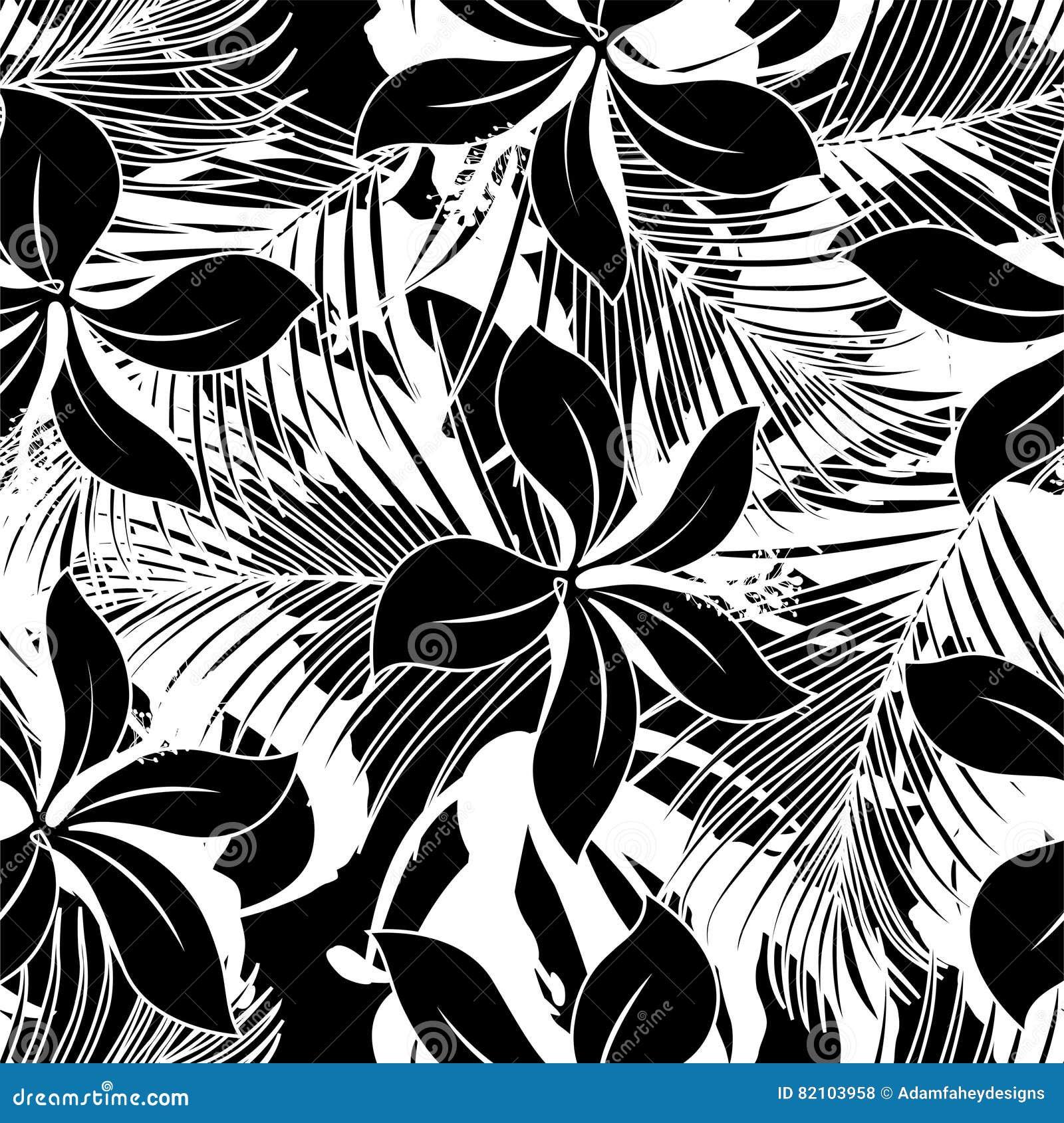 黑白木槿无缝的样式