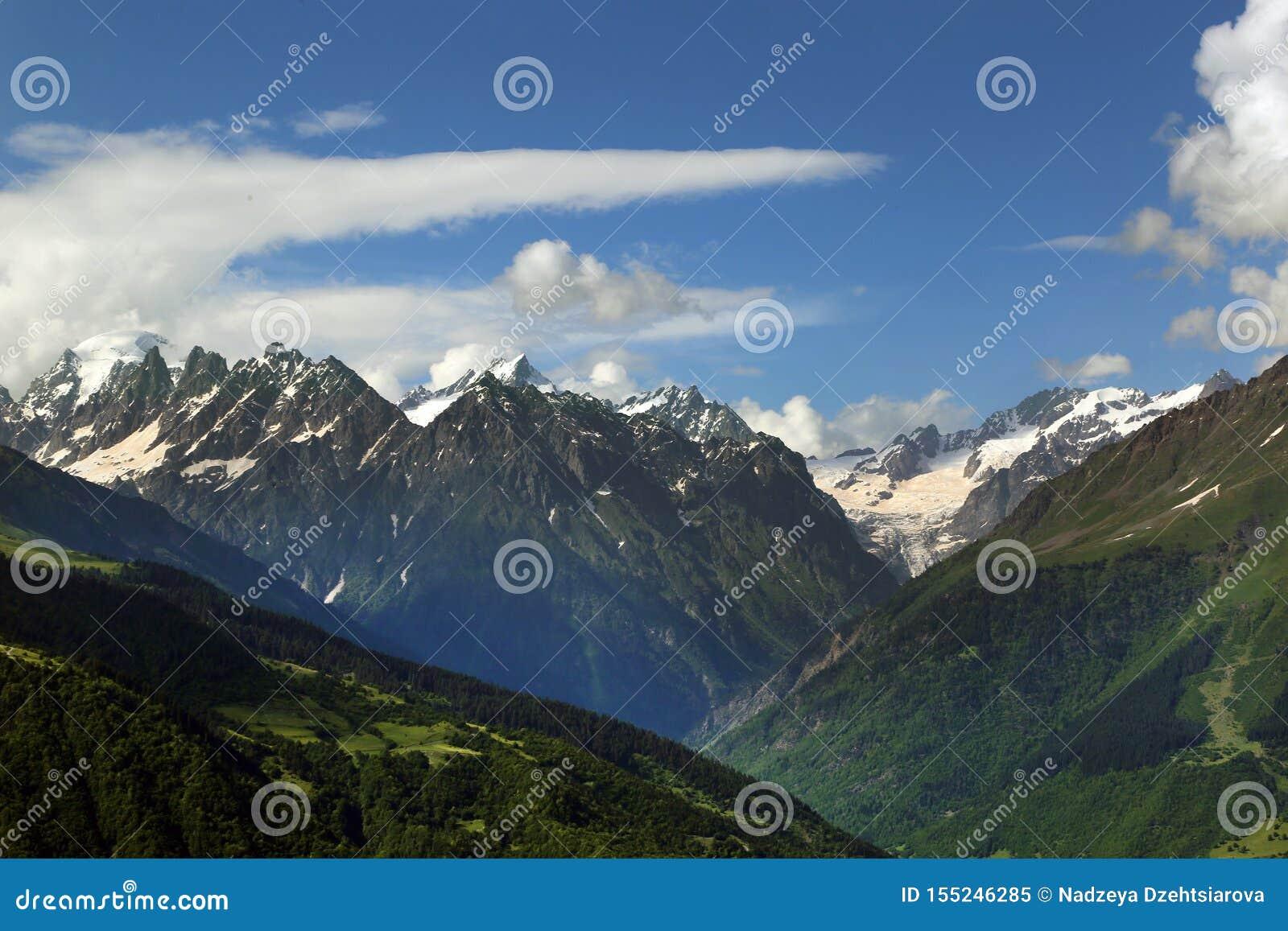 白种人山的积雪覆盖的峰顶的看法