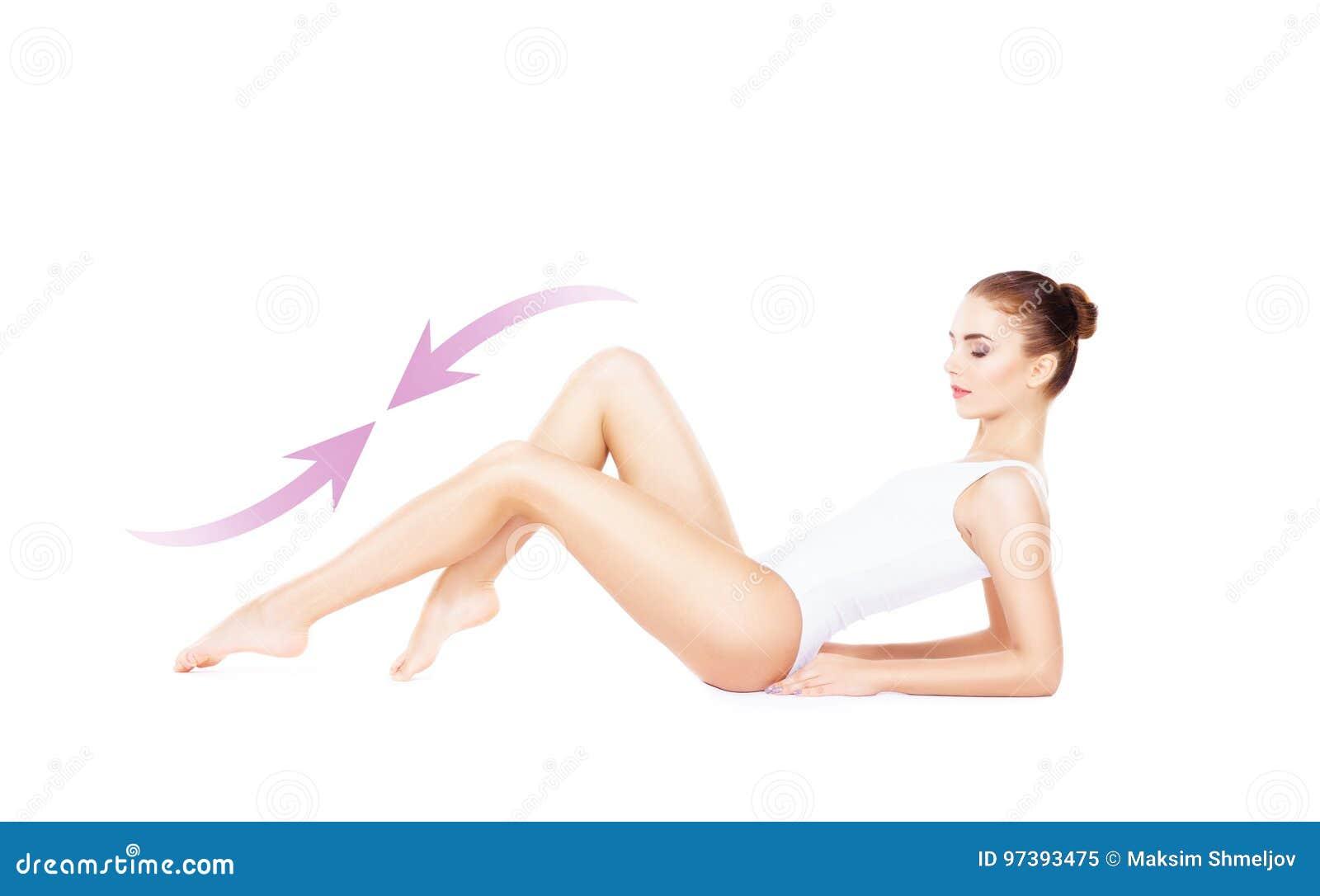 白色内衣的适合和运动的女孩 美丽和健康wo