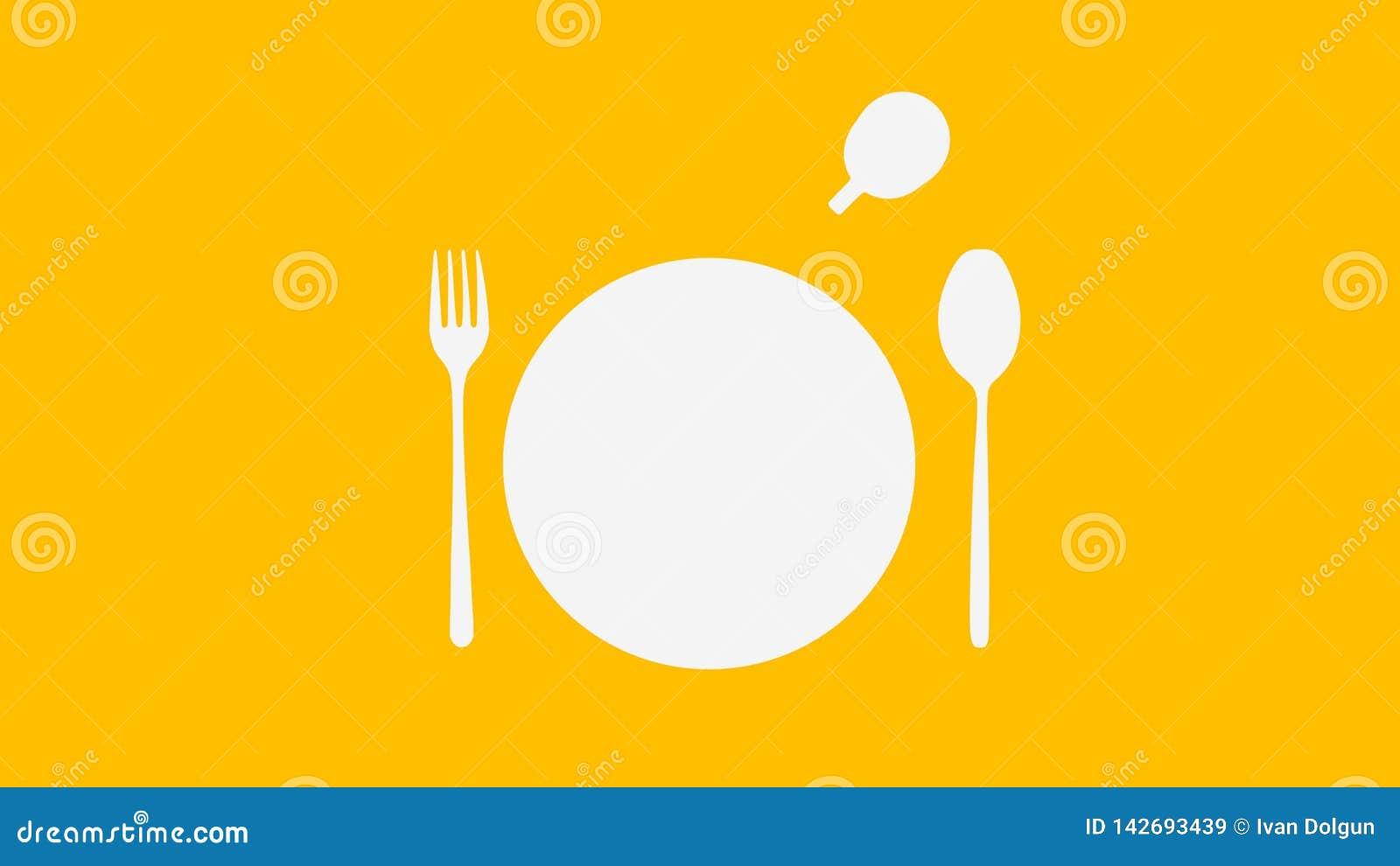 白色匙子和叉子和板材和杯子在黄色颜色