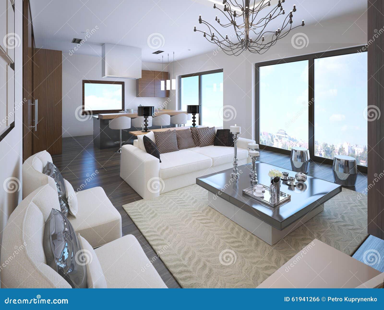 在艺术装饰样式的白色单室公寓内部与大全景窗口 3d回报.