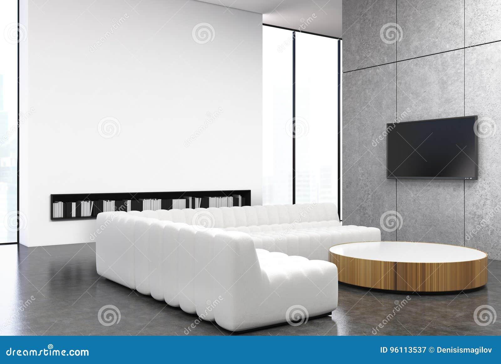 白色和灰色客厅,沙发