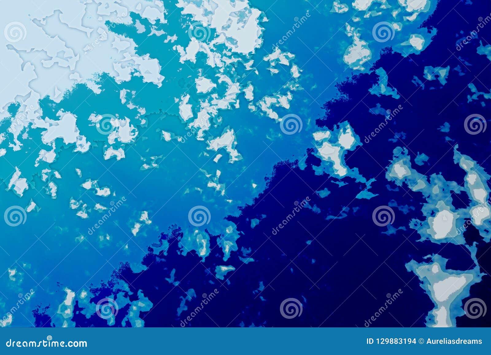 白色和蓝色抽象背景纹理 与北部海岸线,海,海洋,冰,山,云彩的幻想地图