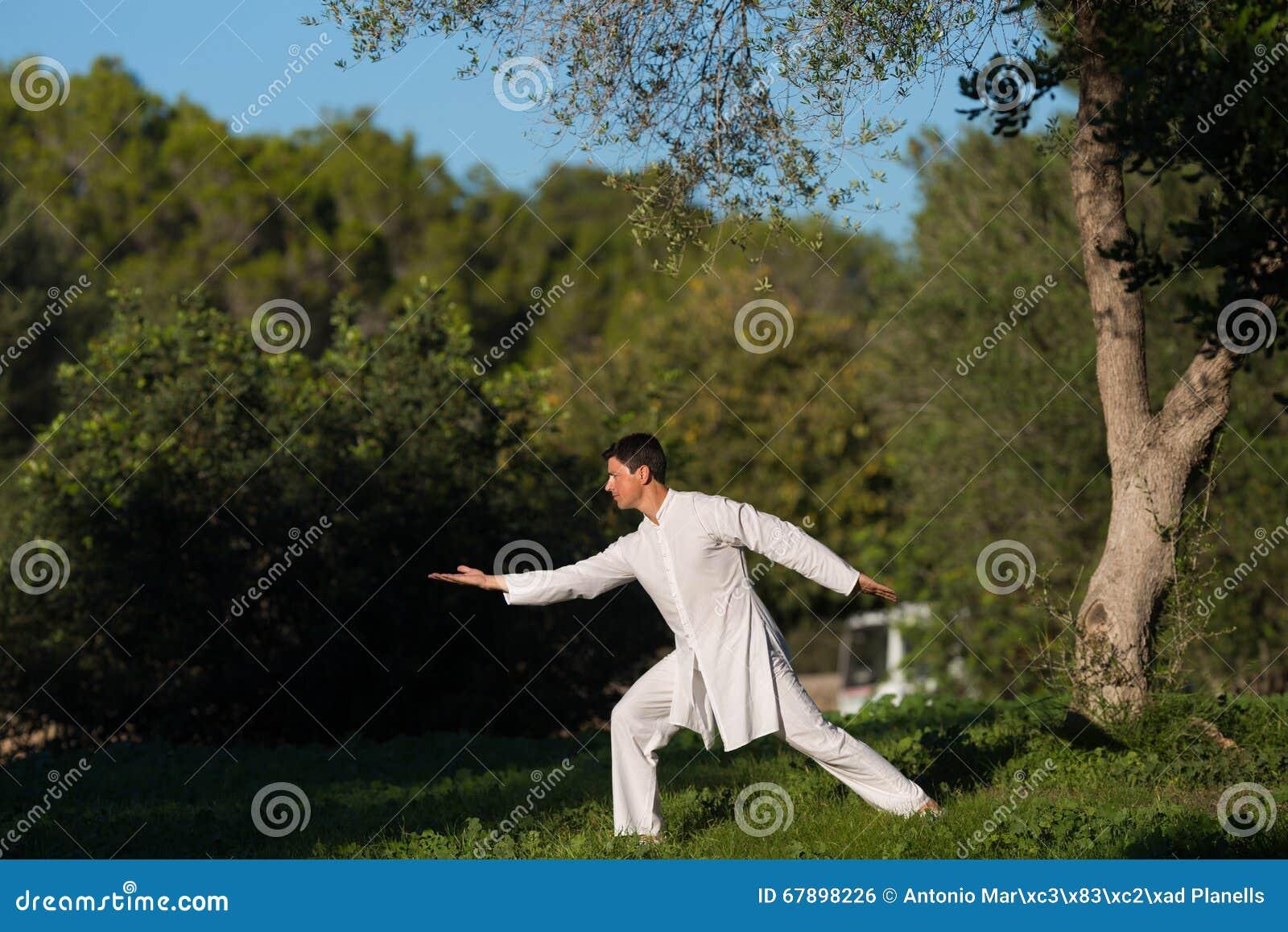 白色在公园打扮了实践太极拳的人