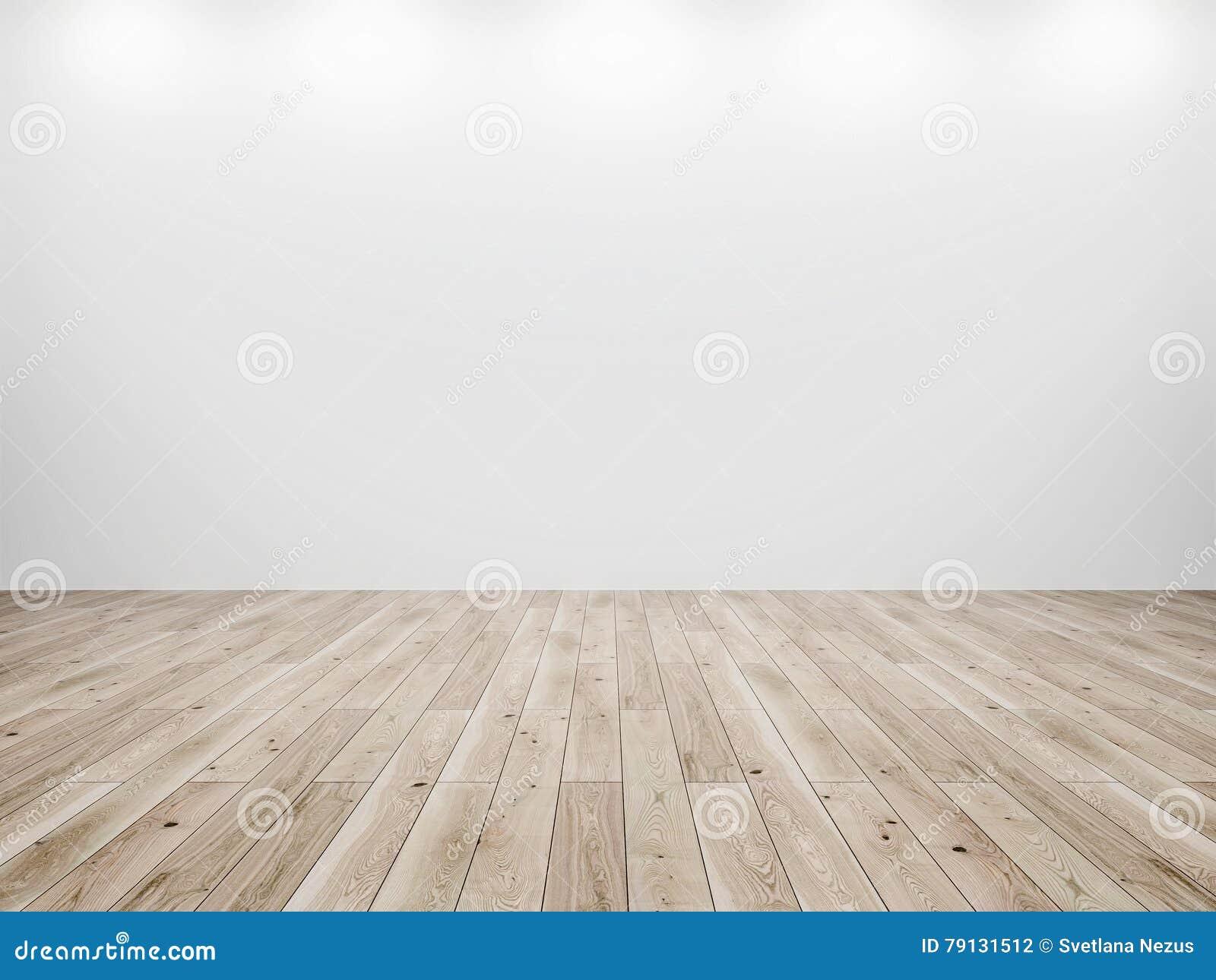 白色墙壁和木头地板背景