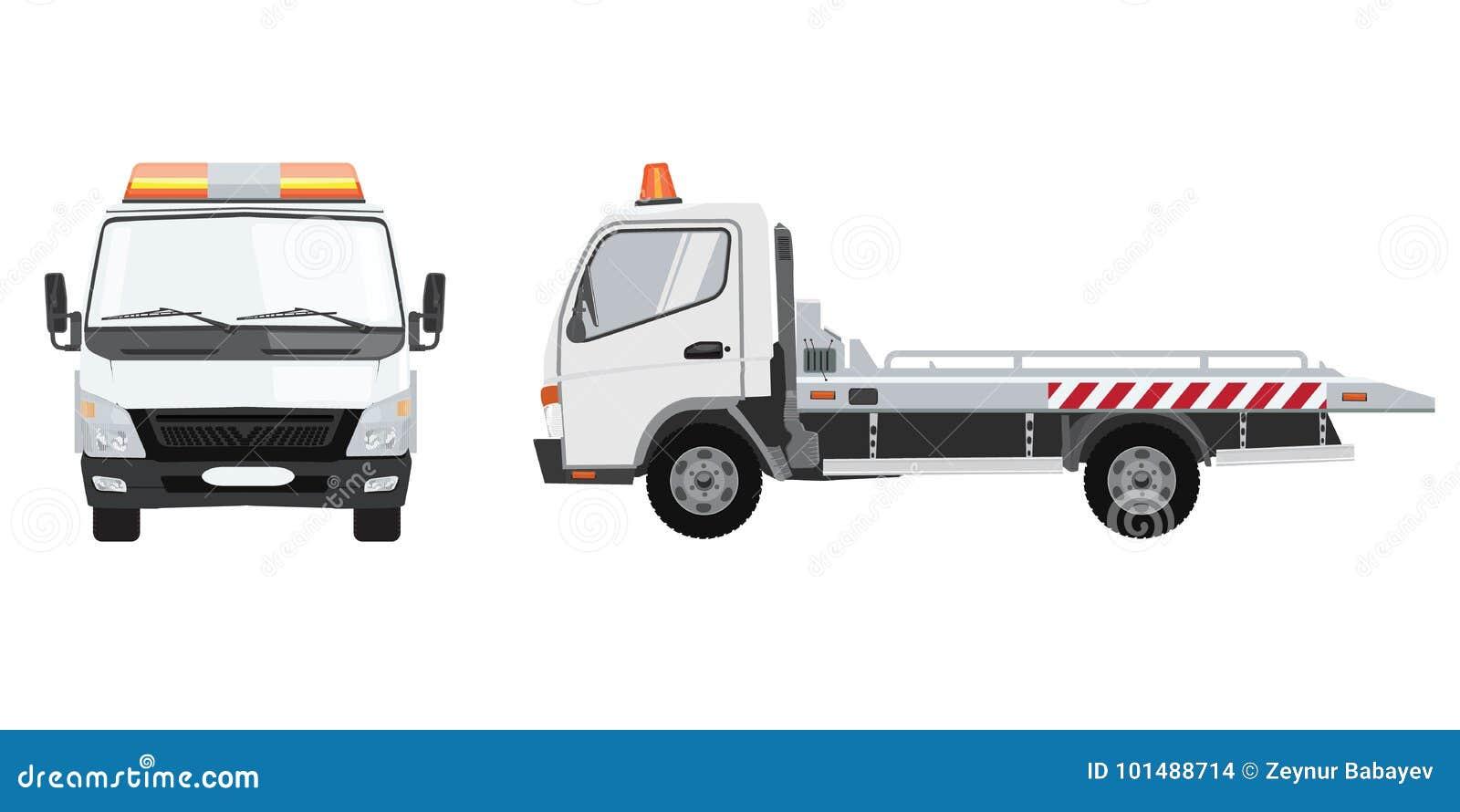 白色拖车有前面和侧视图 与单色设计的平的传染媒介